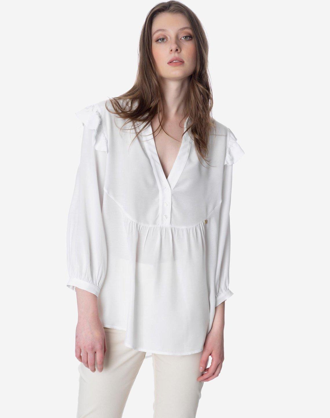 Asymmetric ruffled shirt