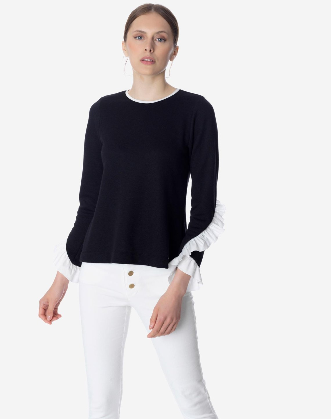 Μπλούζα φούτερ με βολάν