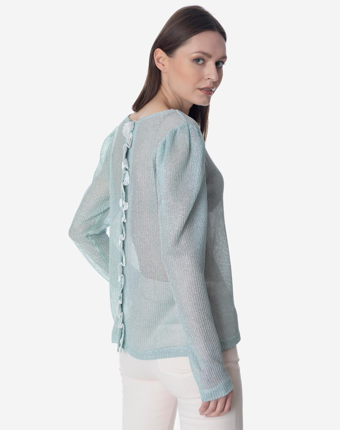 Semi sheer  top with lace