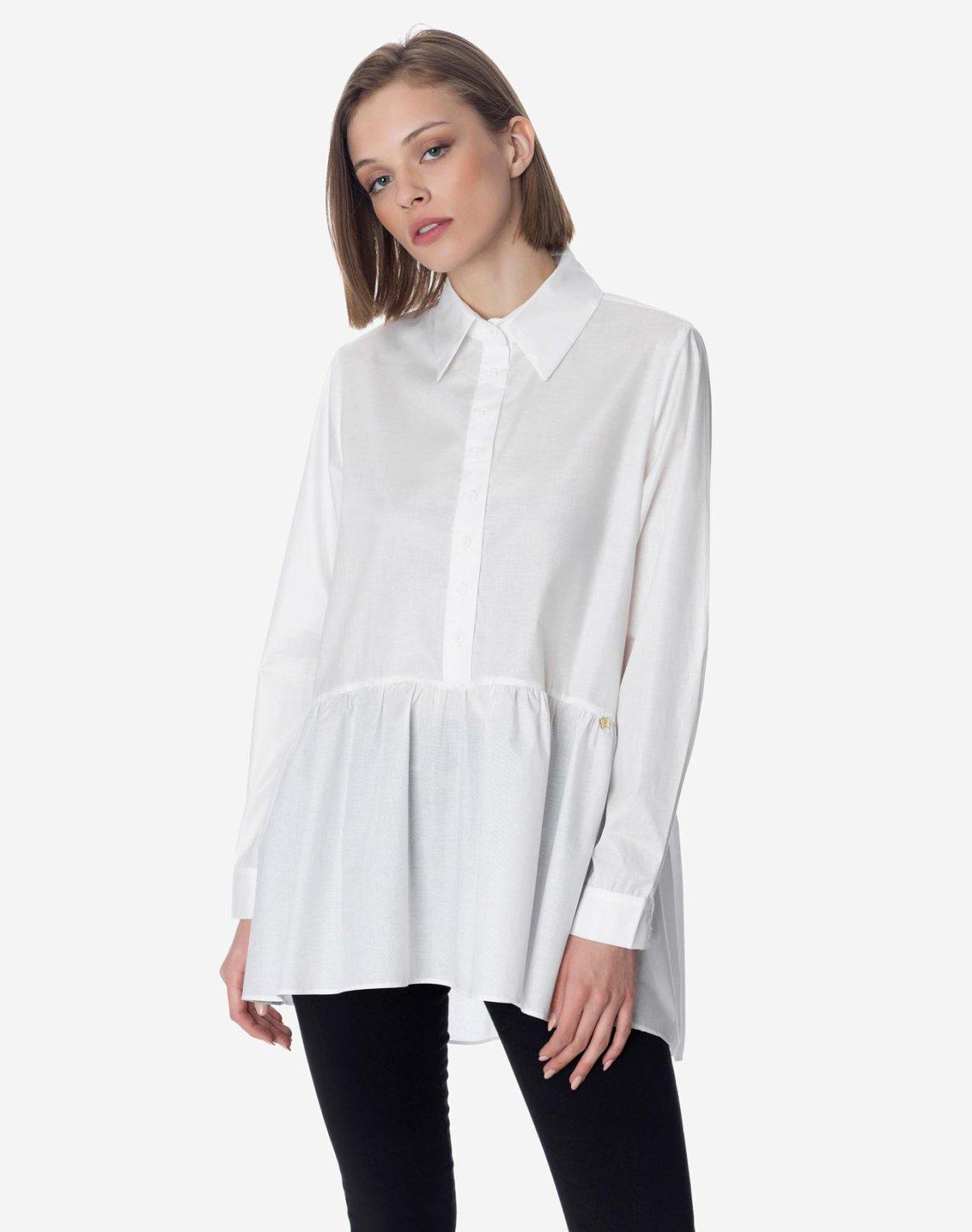 Shirt with ruffle hem