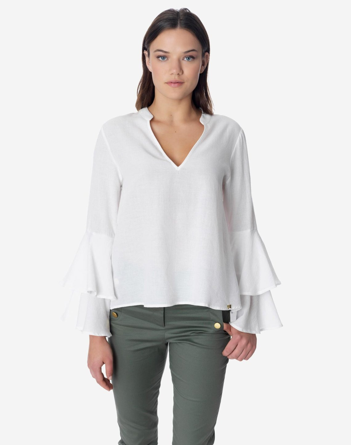 Top with double ruffles on the sleeves