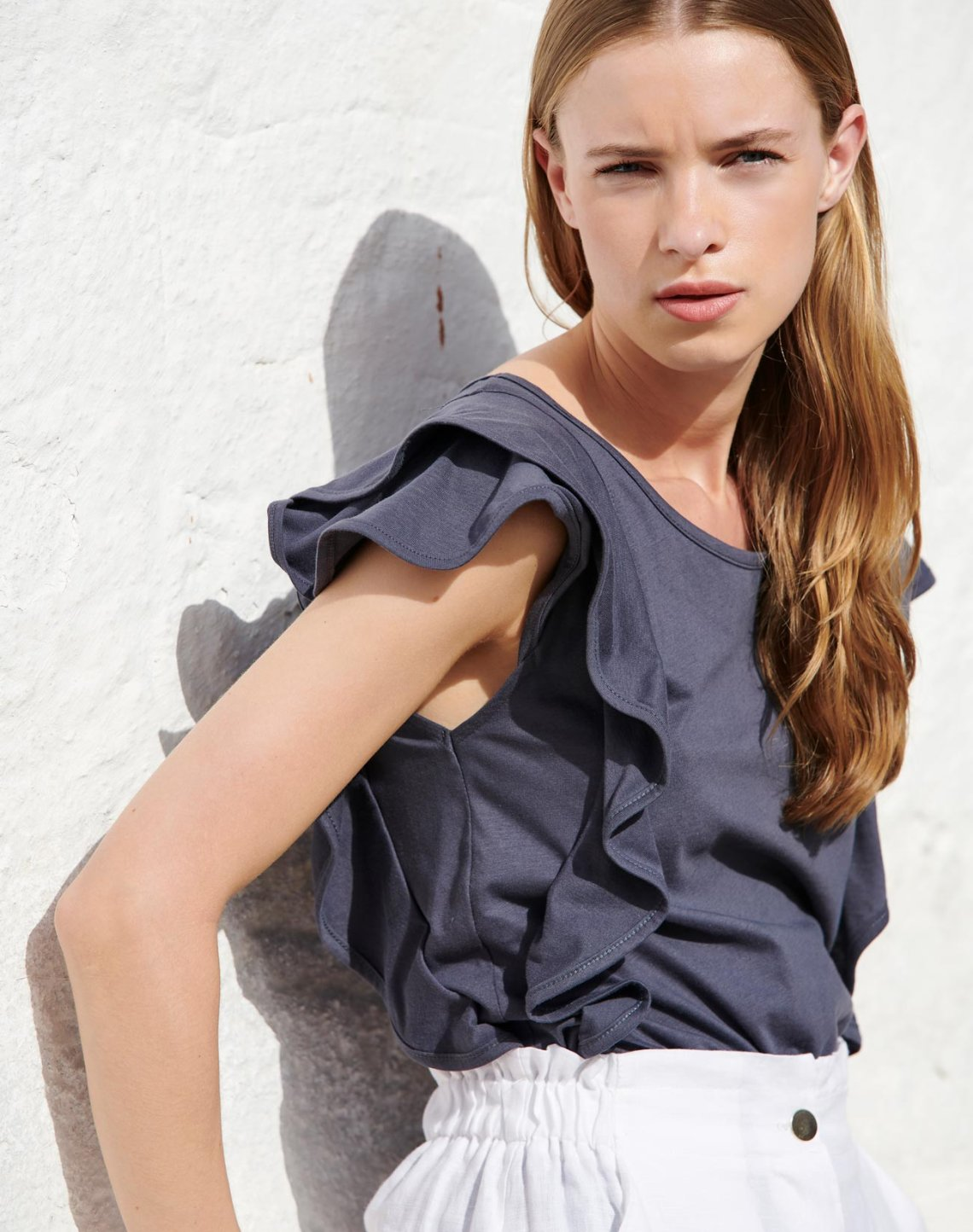 Ruffled organic cotton top