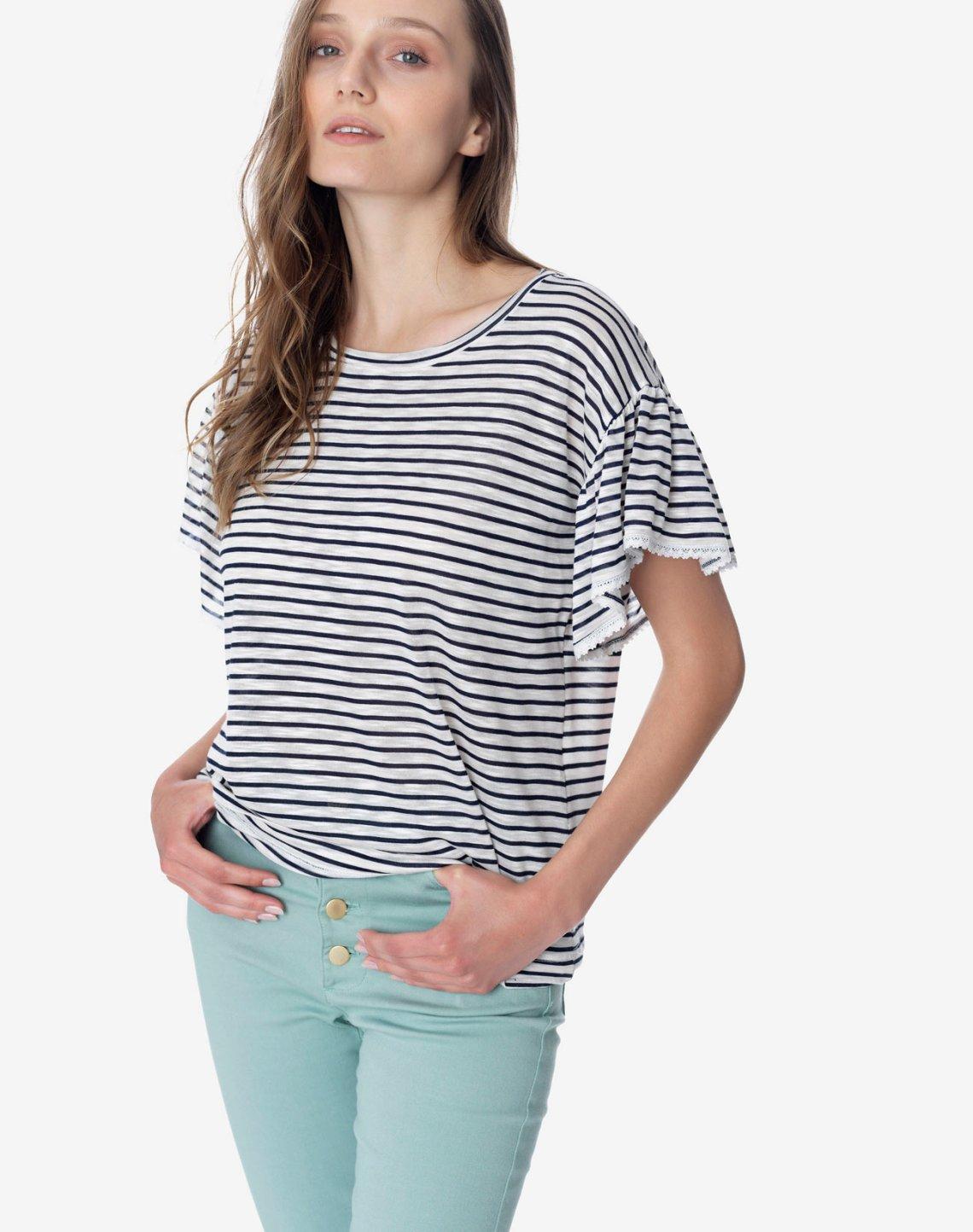 Ριγέ μπλούζα με δαντέλα
