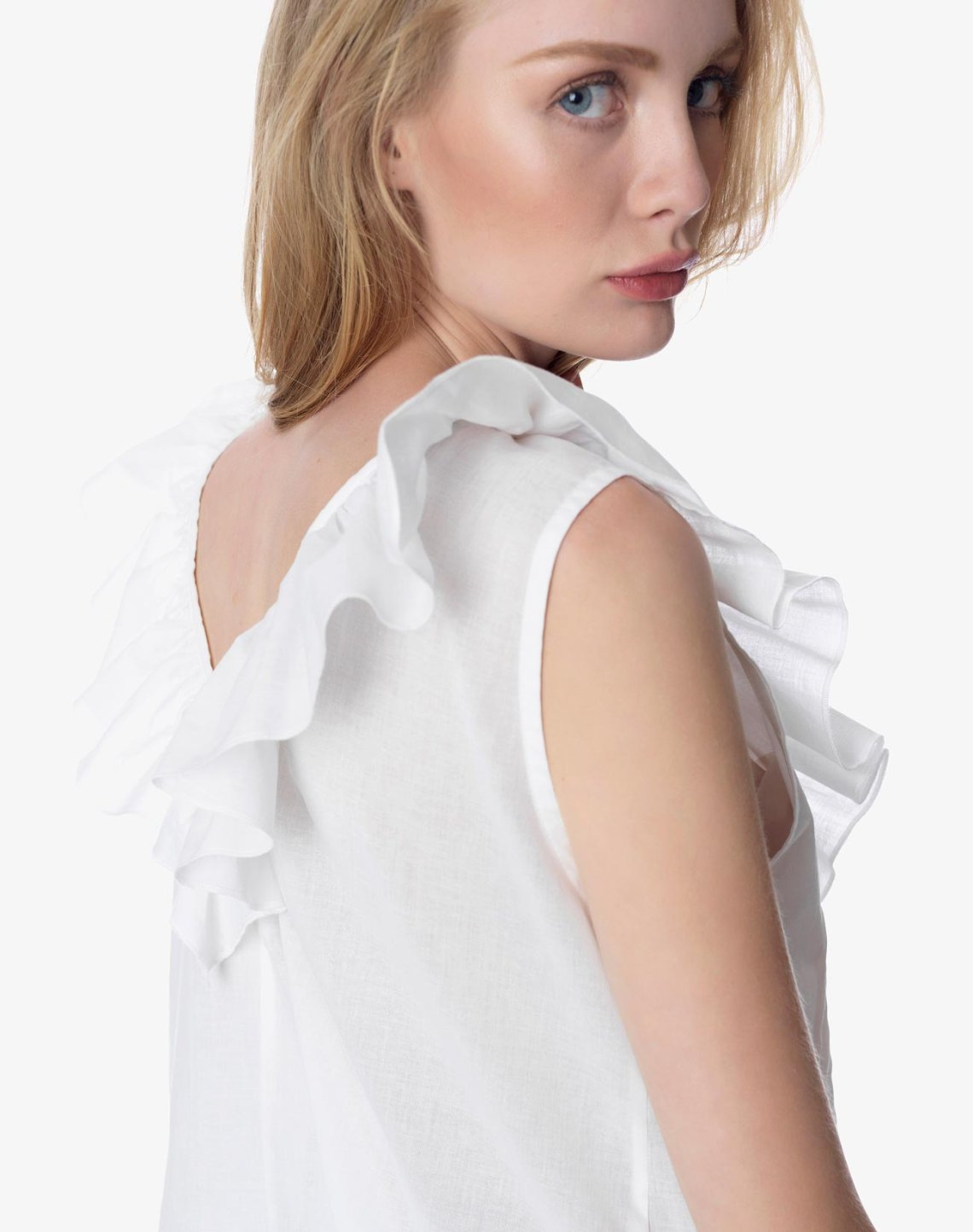 Pin tuck top with ruffles