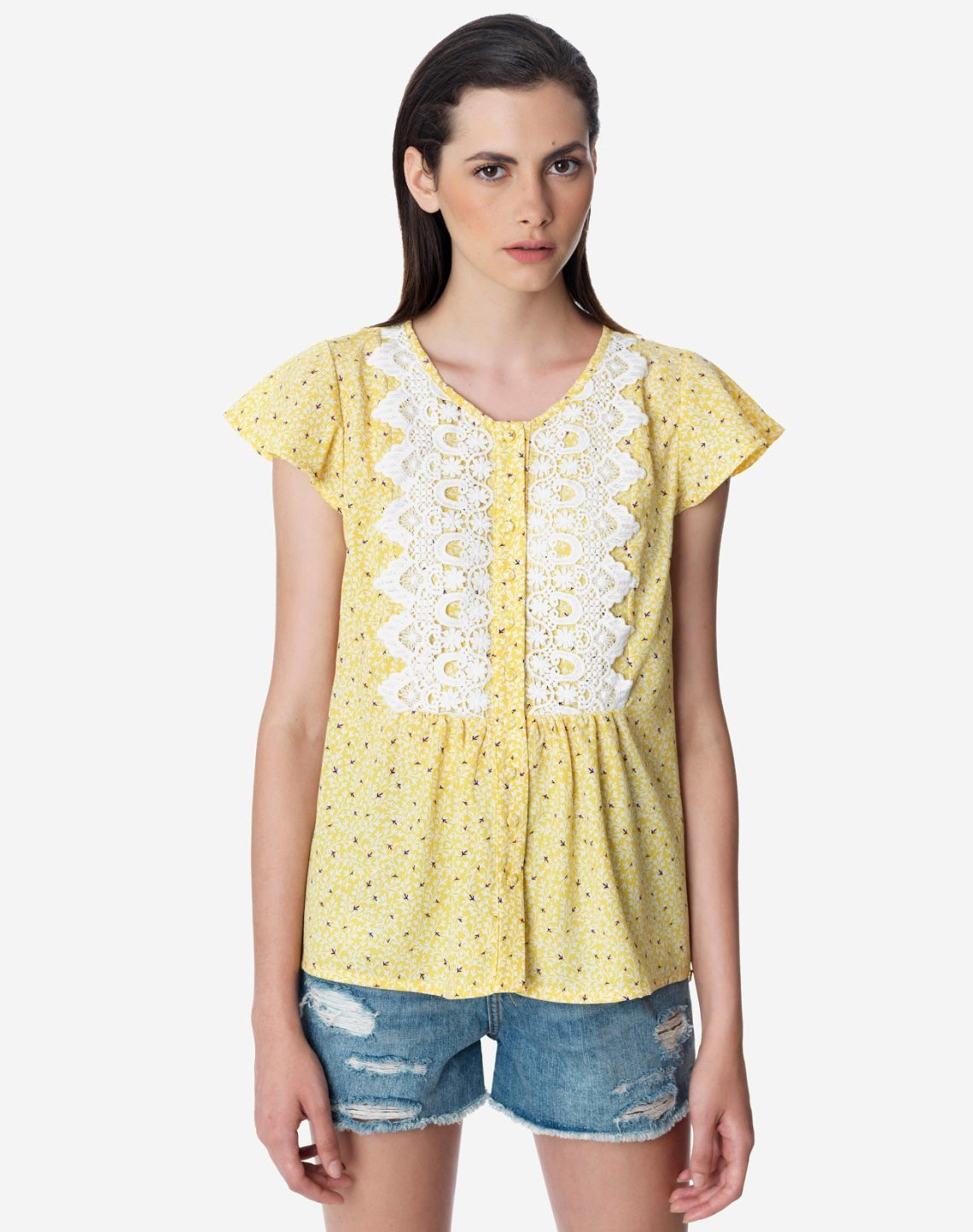 Printed top with lace detail