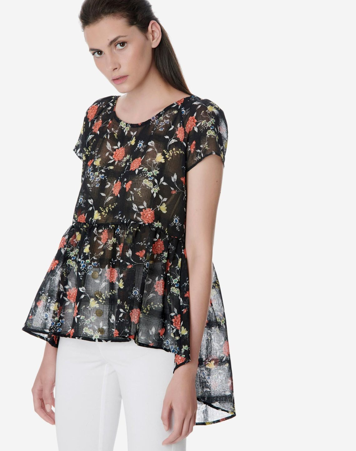 Semi sheer floral top
