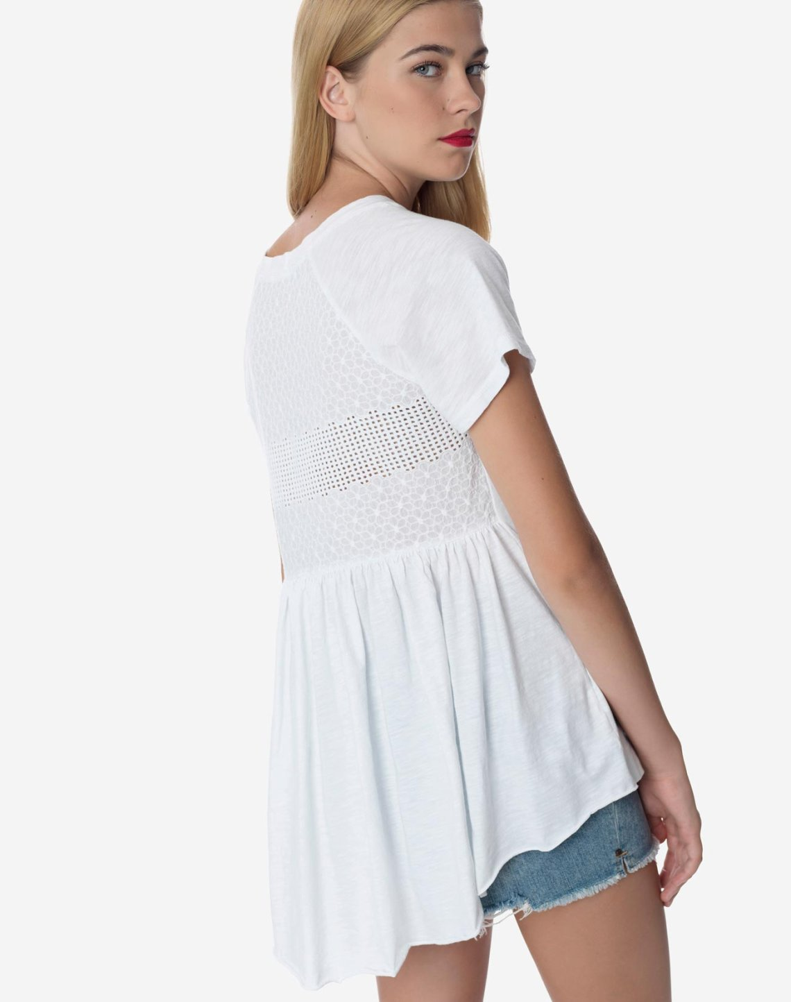 Asymmetric top with cutwork detail