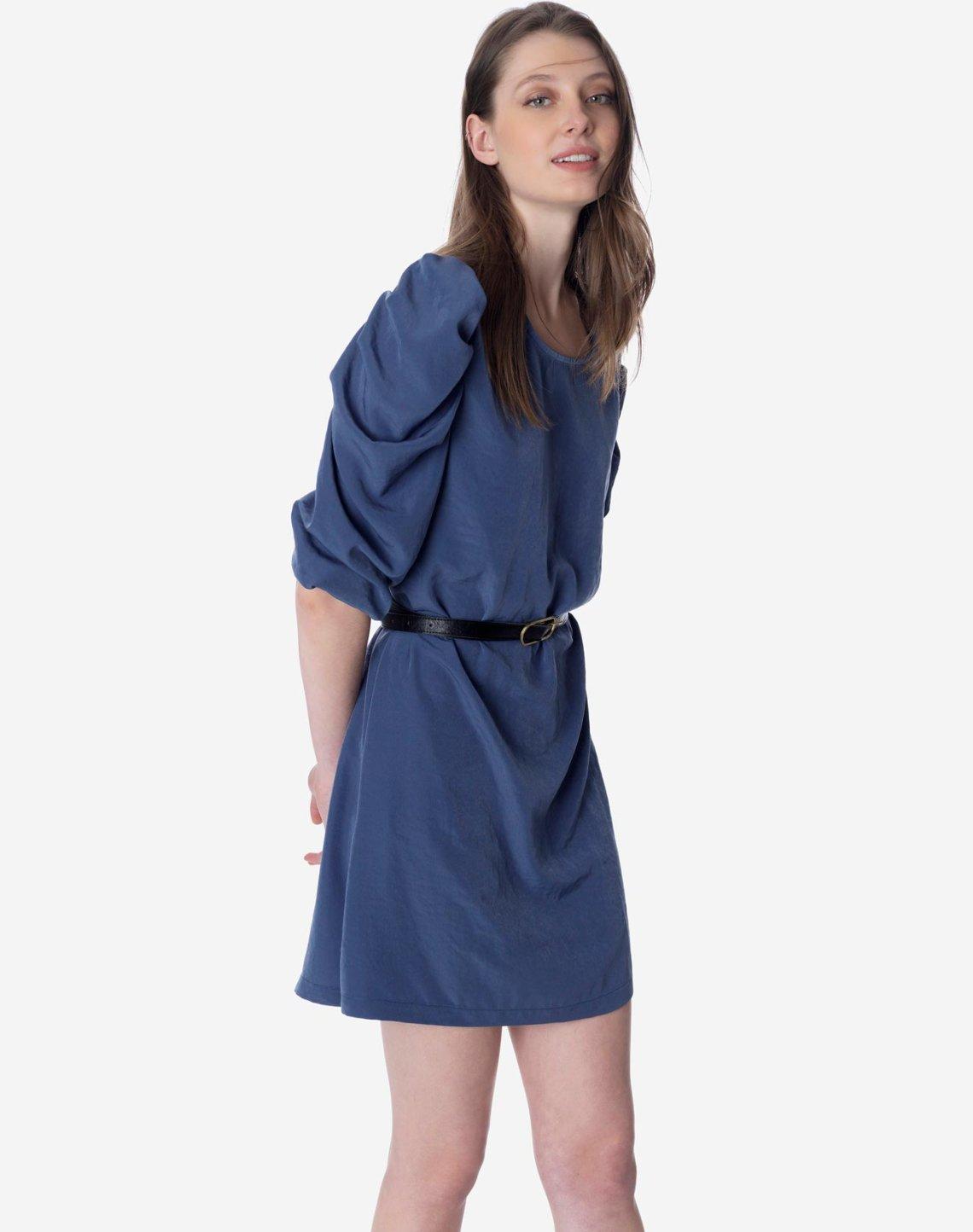 Mini dress with puff shoulders
