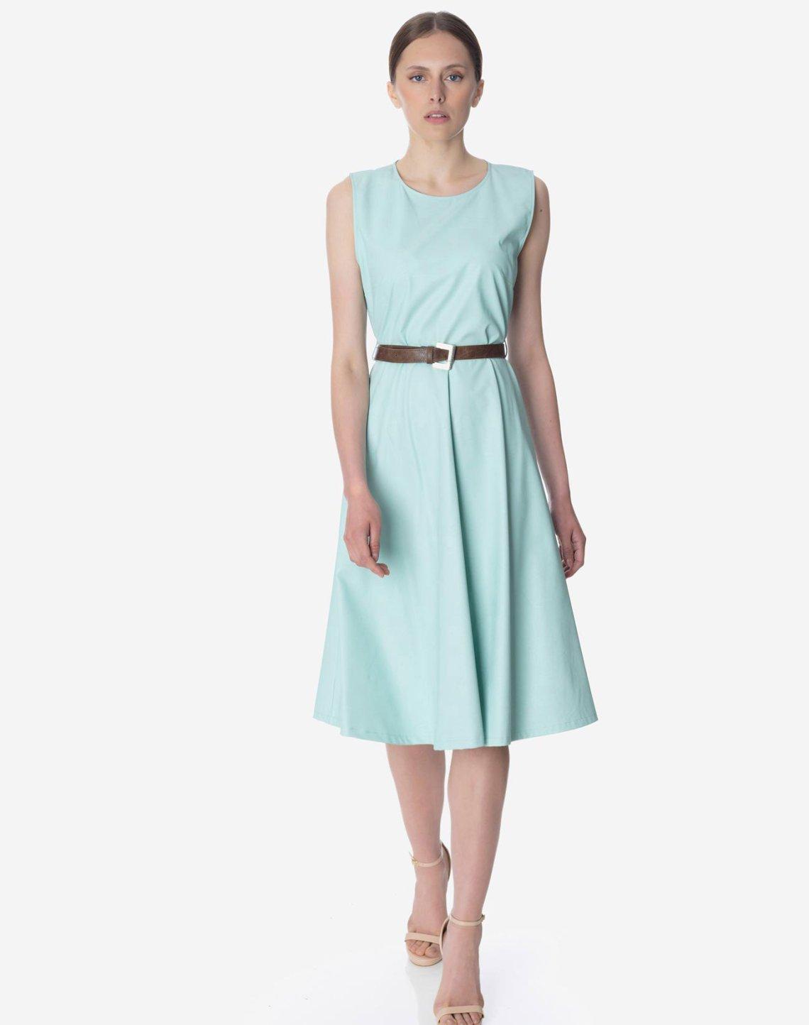Midi faux leather dress
