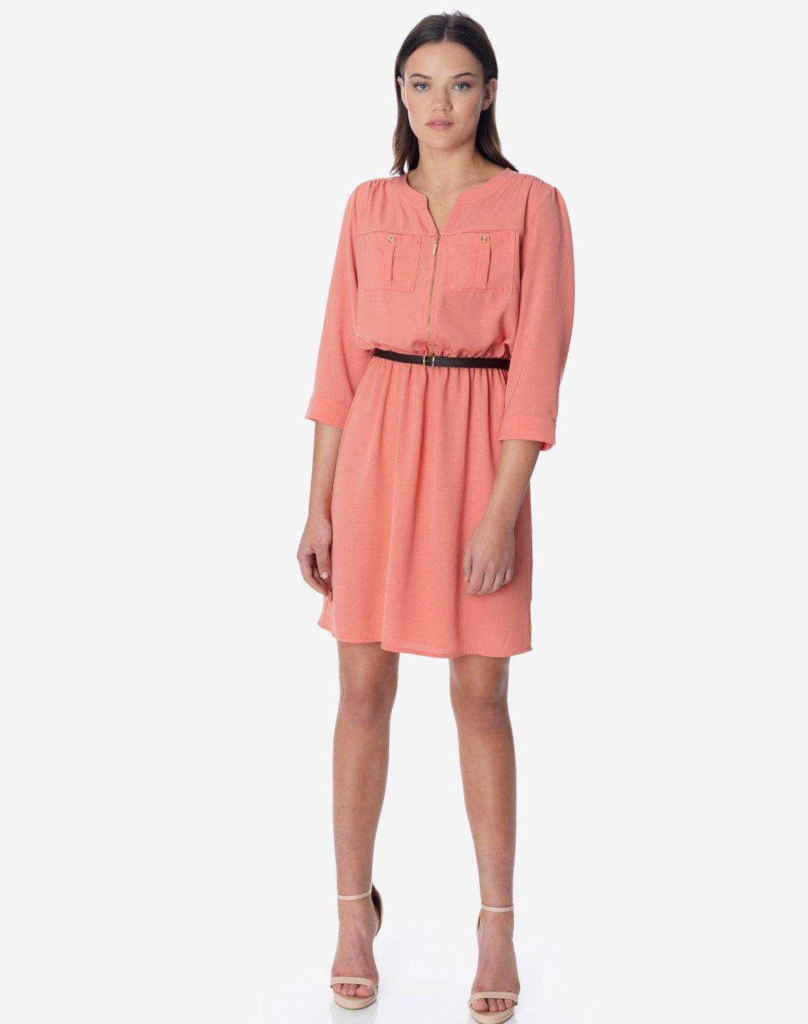 Mini dress with zip