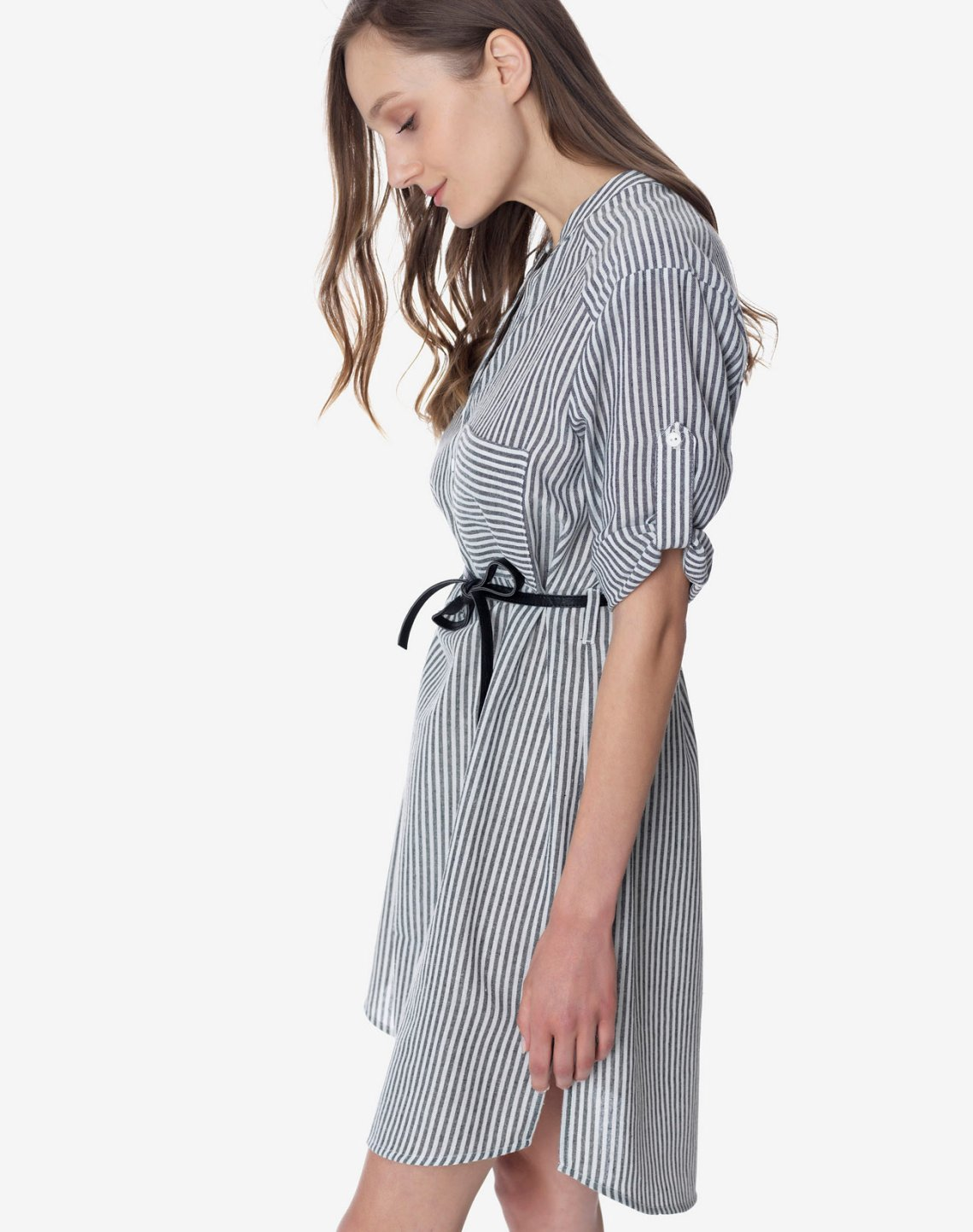 Striped dress with mandarin collar
