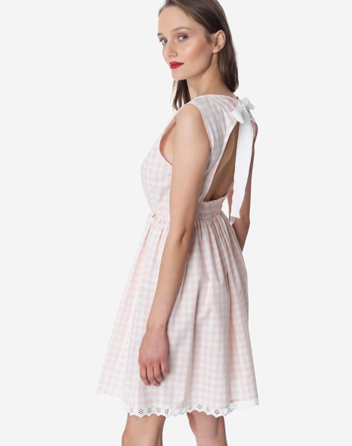 Checked open back dress