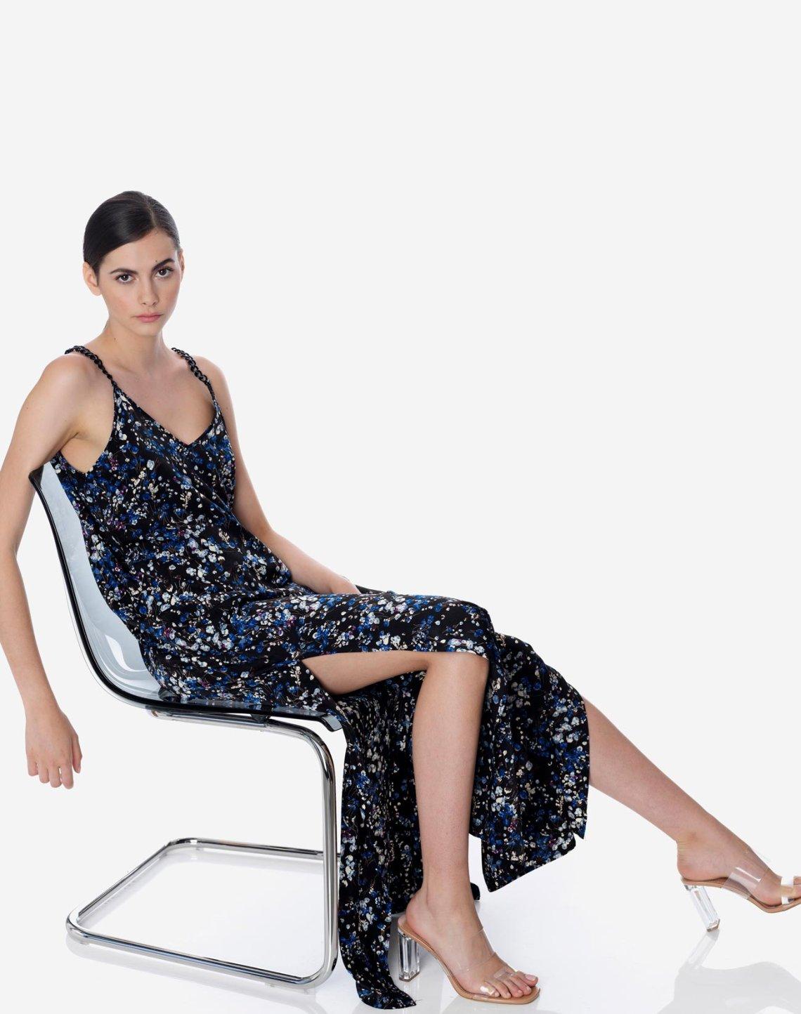 Φλοράλ μάξι φόρεμα με αλυσίδες