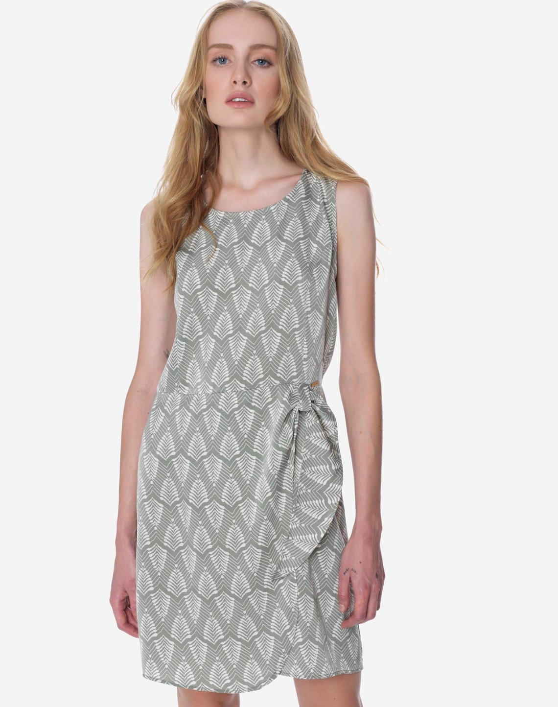Printed dress with knot detail
