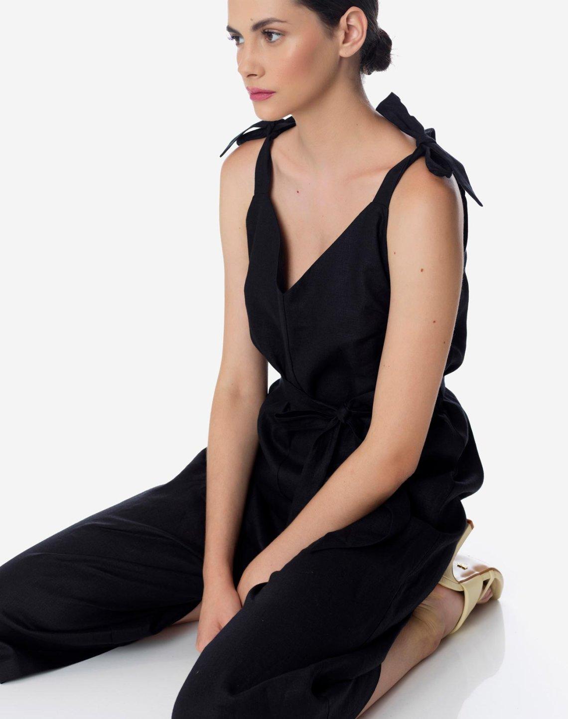 Linen culottes jumpsuit