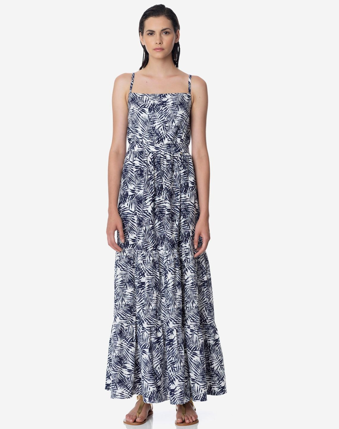 Maxi printed dress with straps
