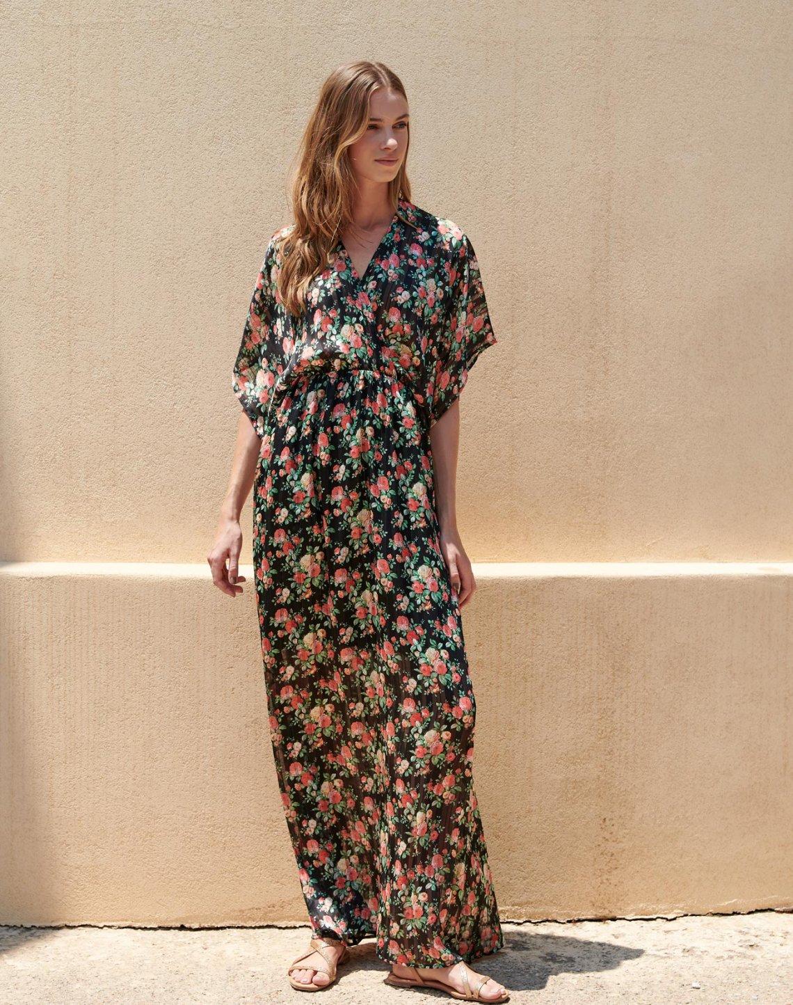 Maxi floral wrap dress