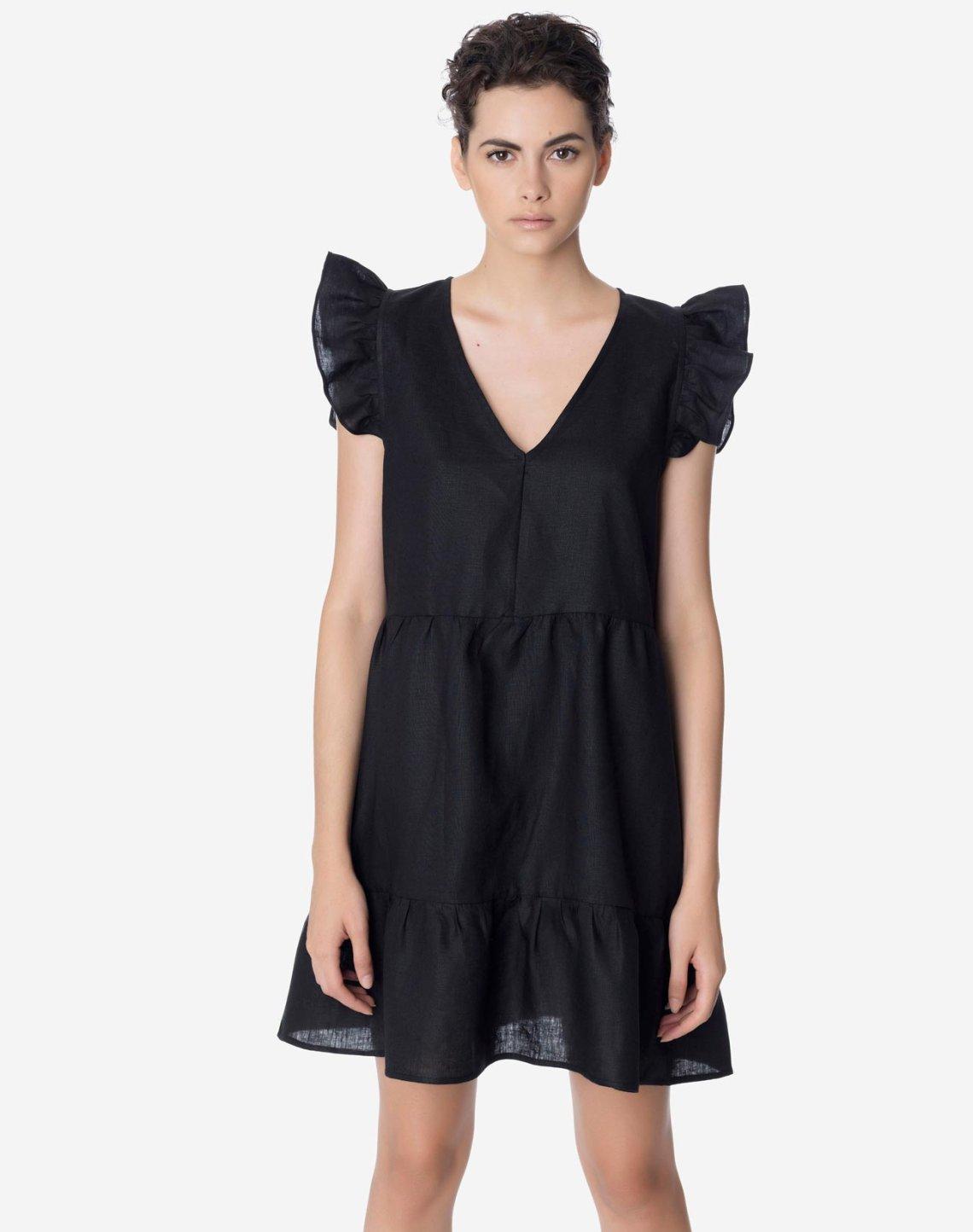 Μίνι λινό φόρεμα με βολάν