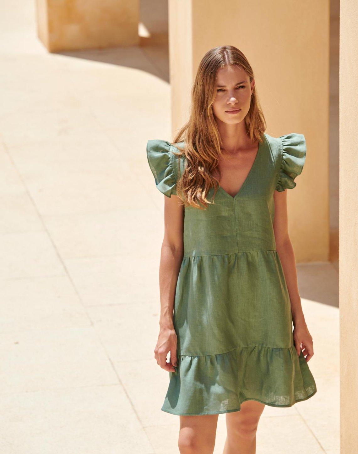 Mini linen dress with ruffles