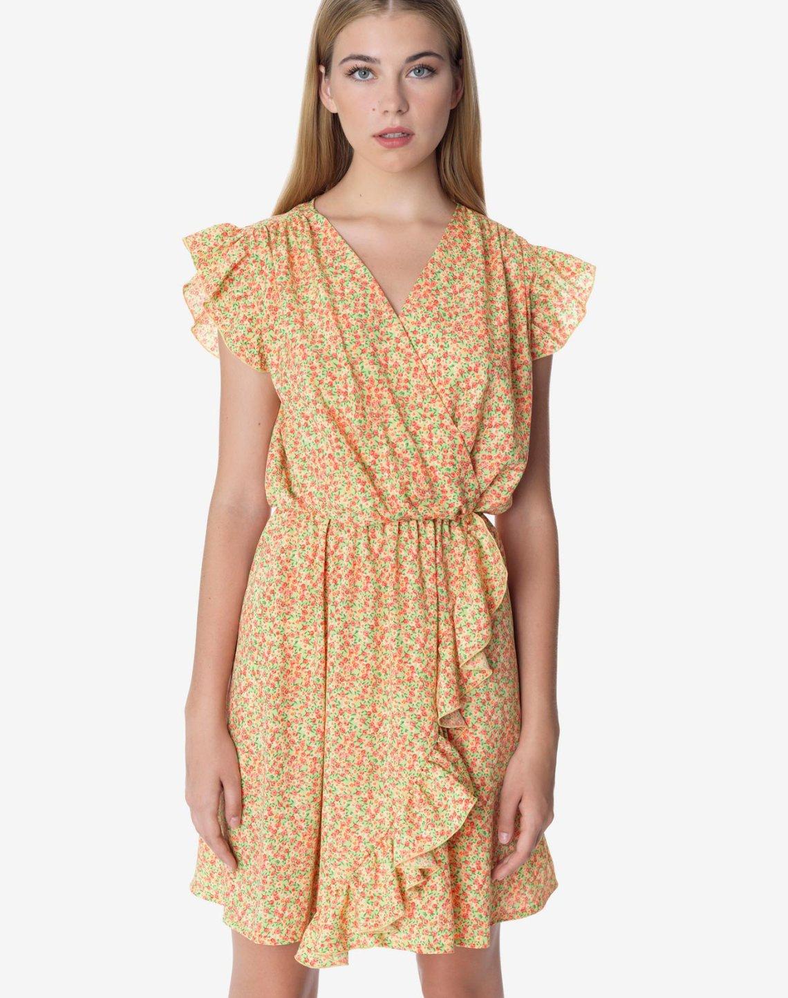 Printed mini dress with ruffles