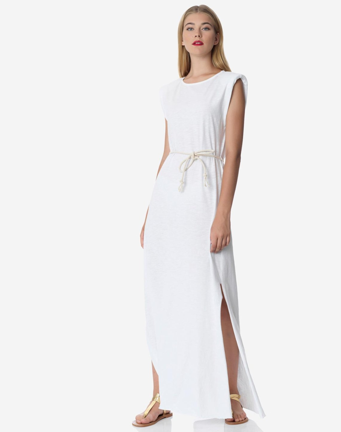Maxi dress with shoulder pads