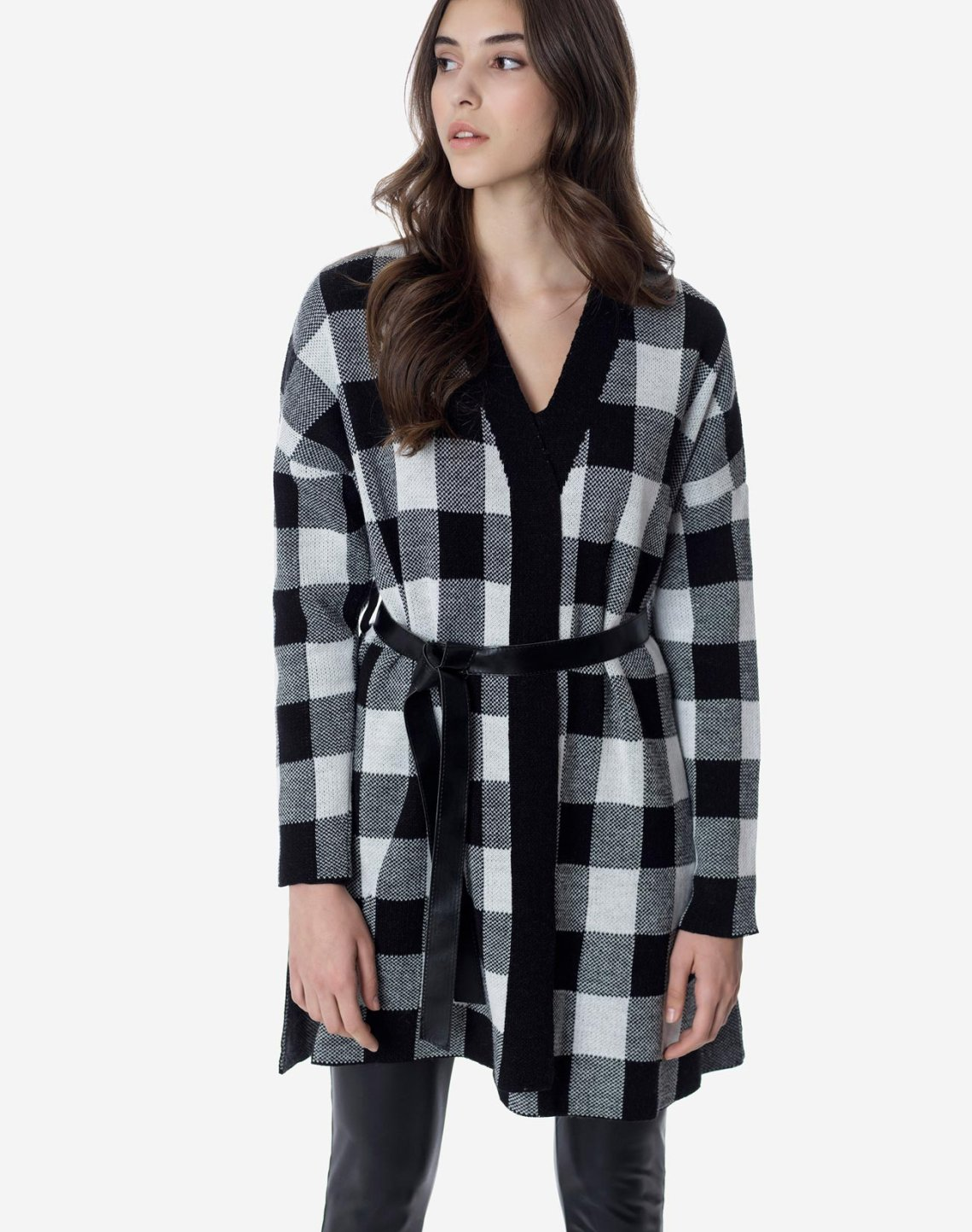 Plaid long gardigan