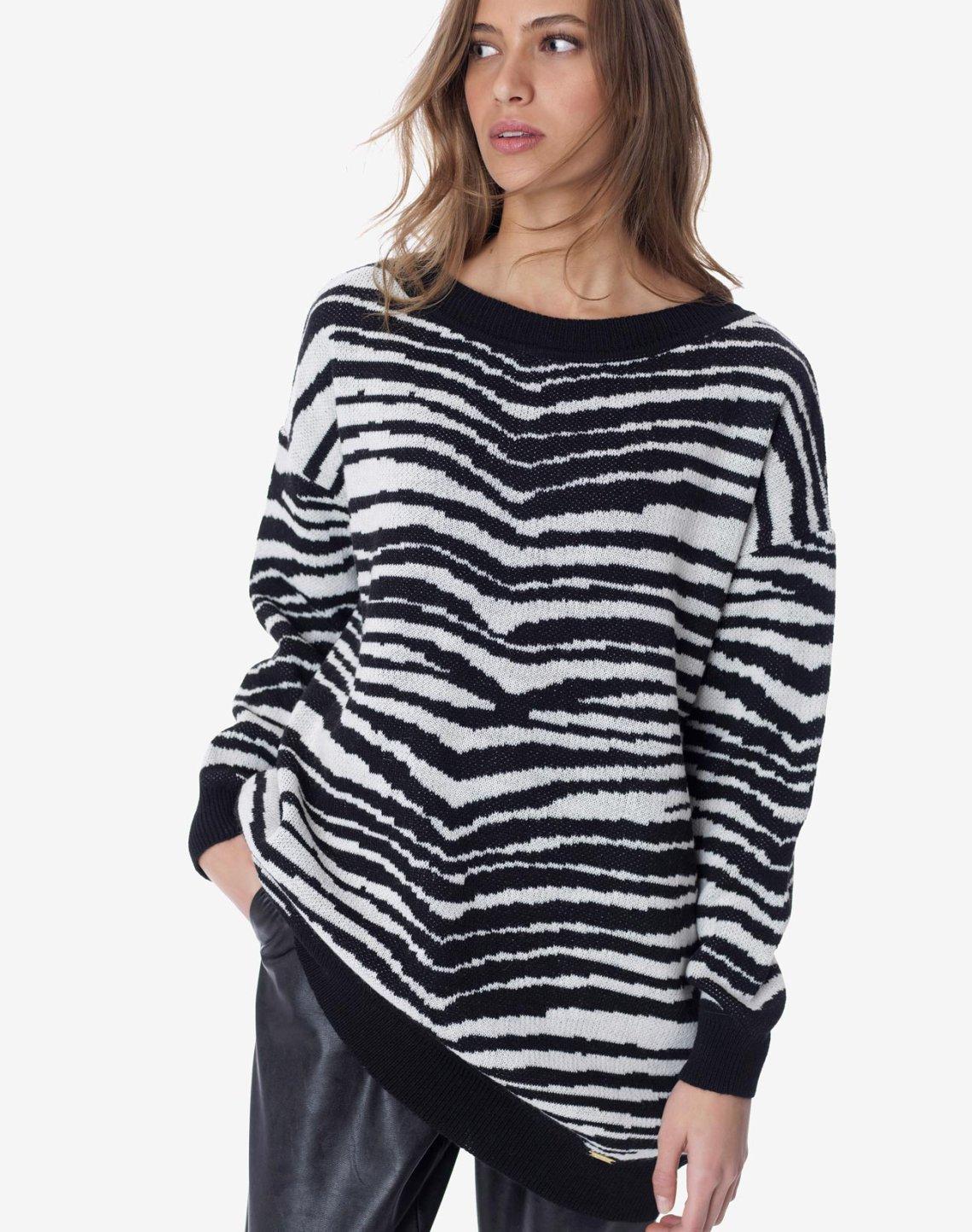 Animal print oversized sweater