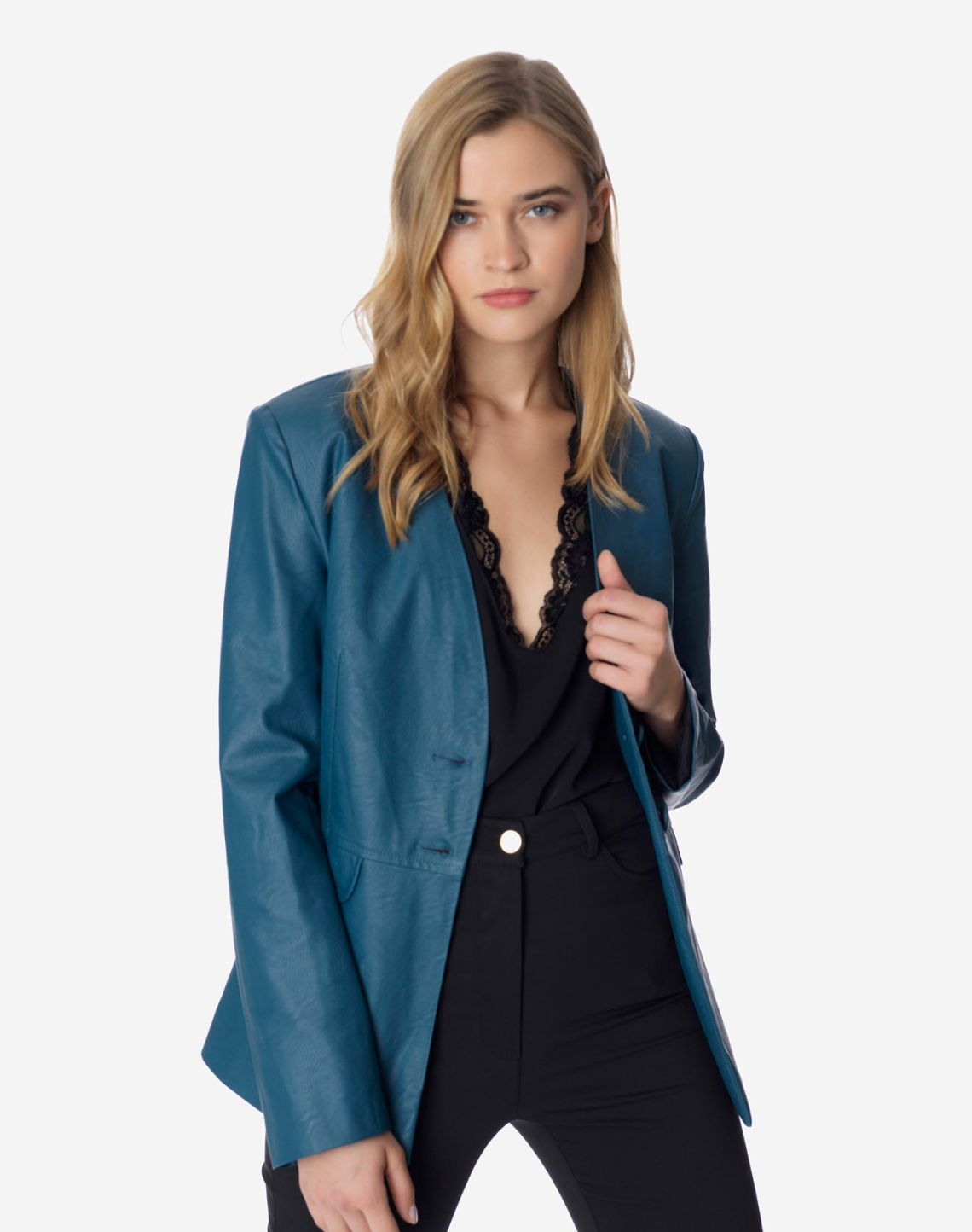 Faux leather blazer