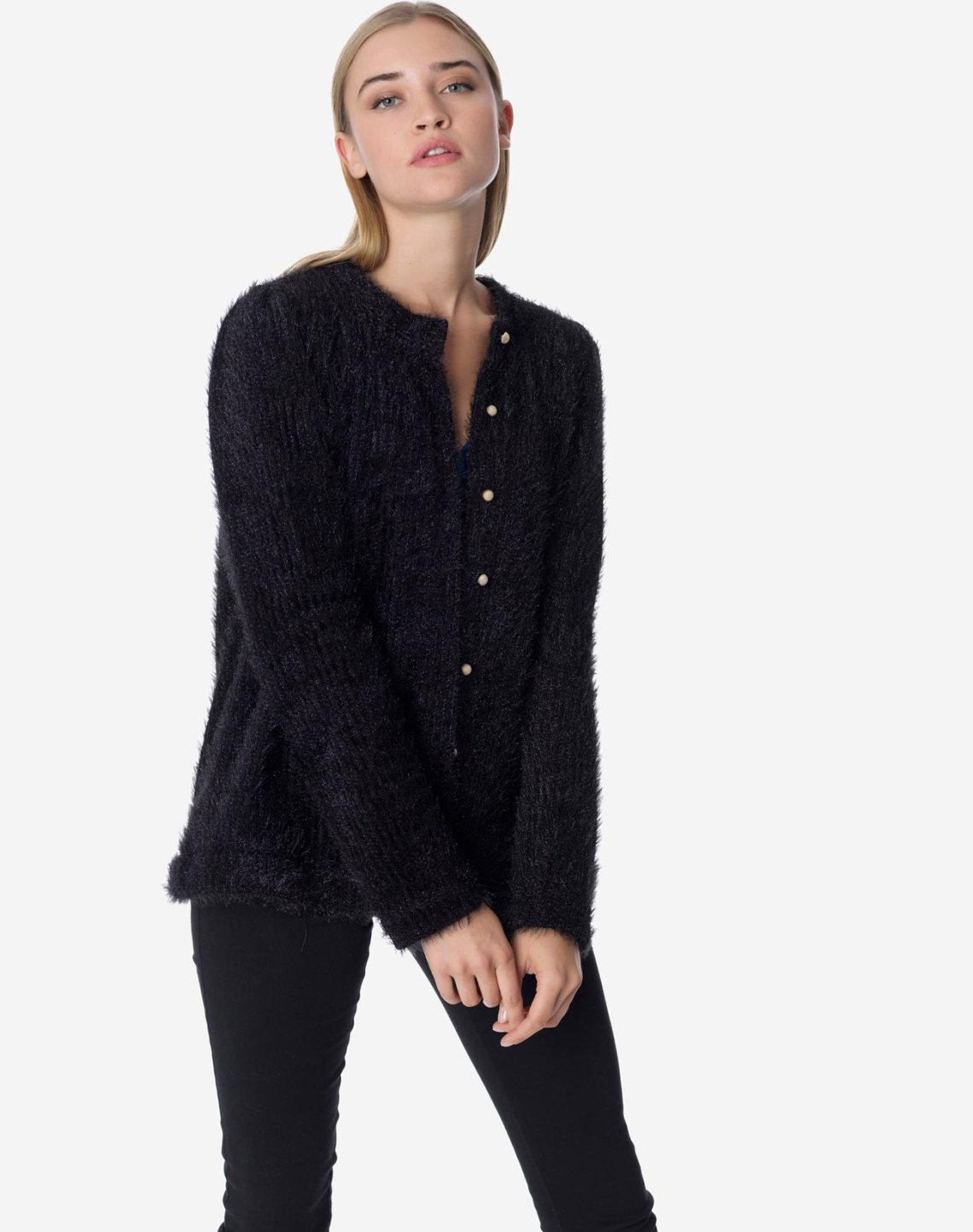 Knit cardigan with golden buttons