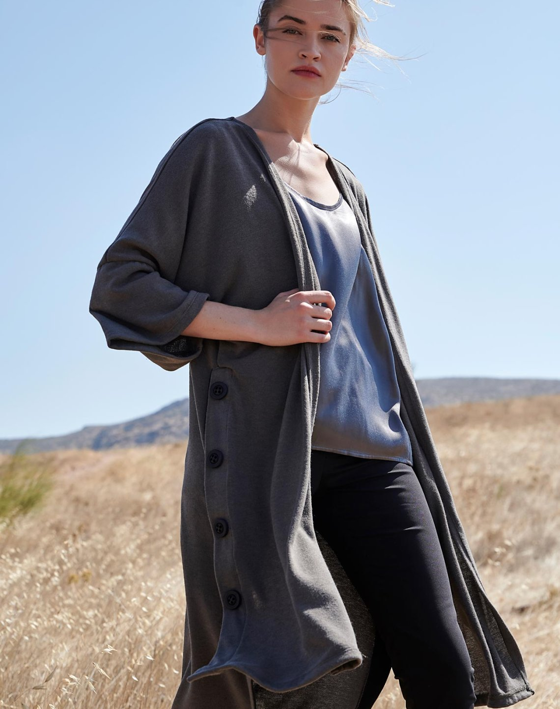 Long cardigan with buttons