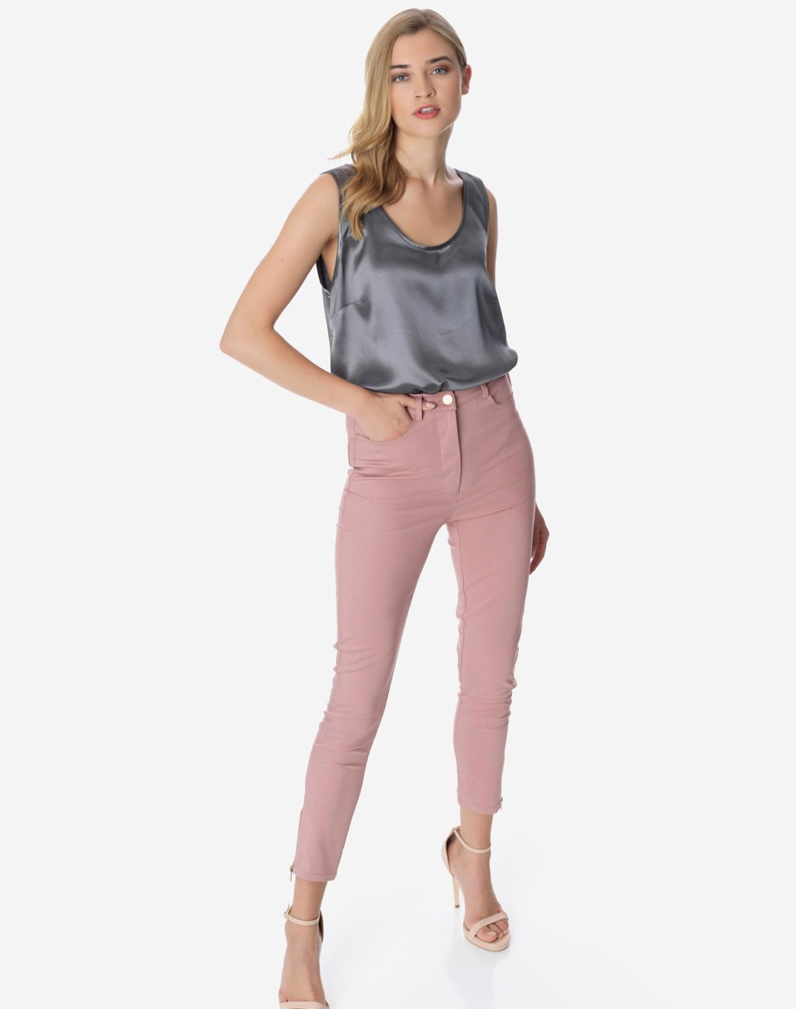 High waist trouser with zip detail
