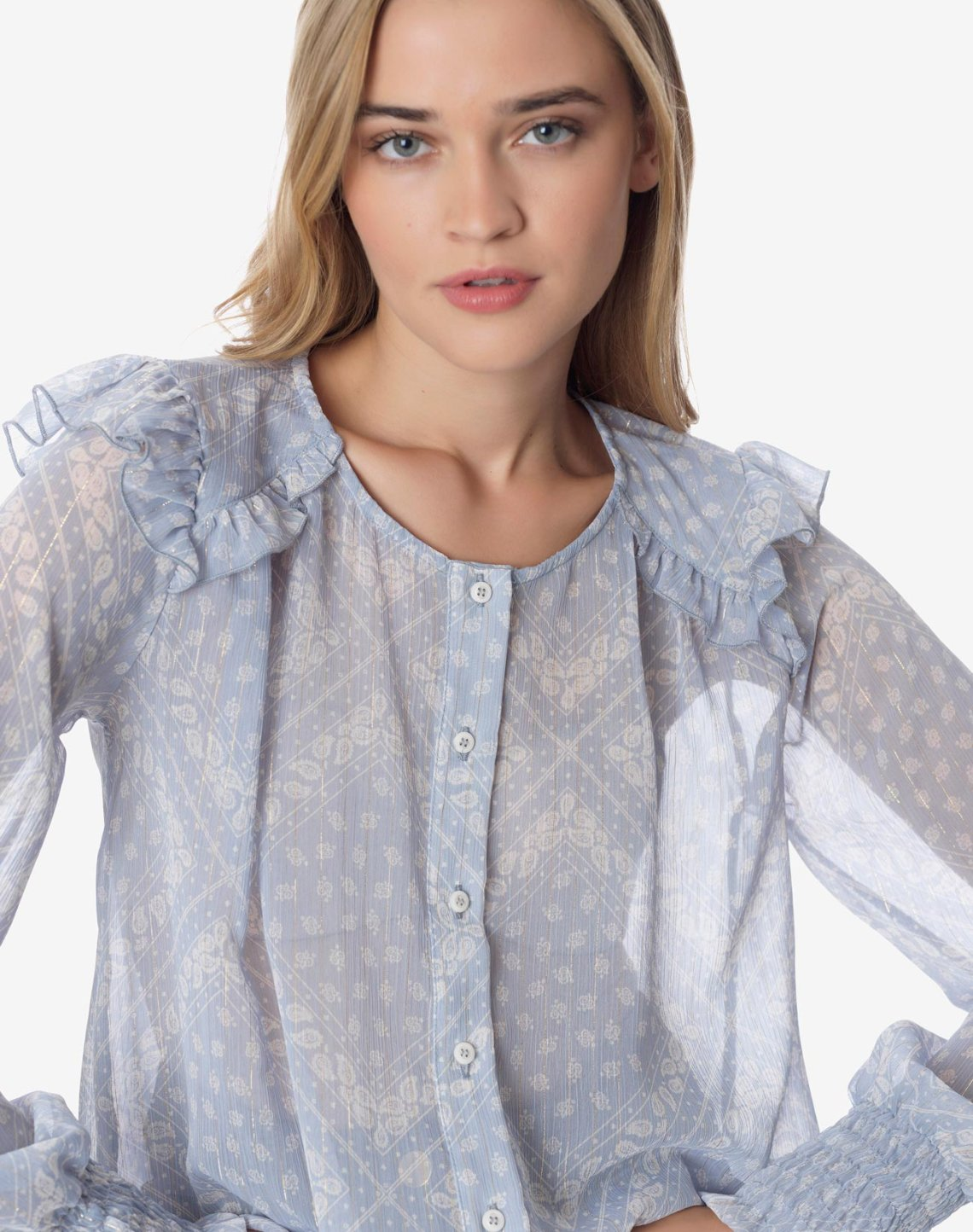 Printed shirt with ruffles