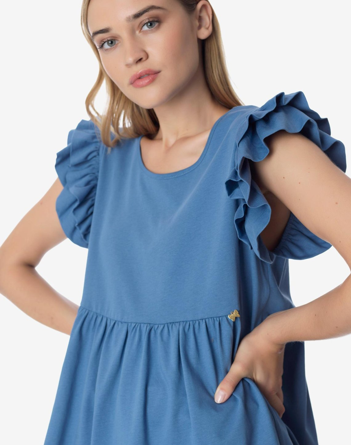 Organic cotton top with ruffles
