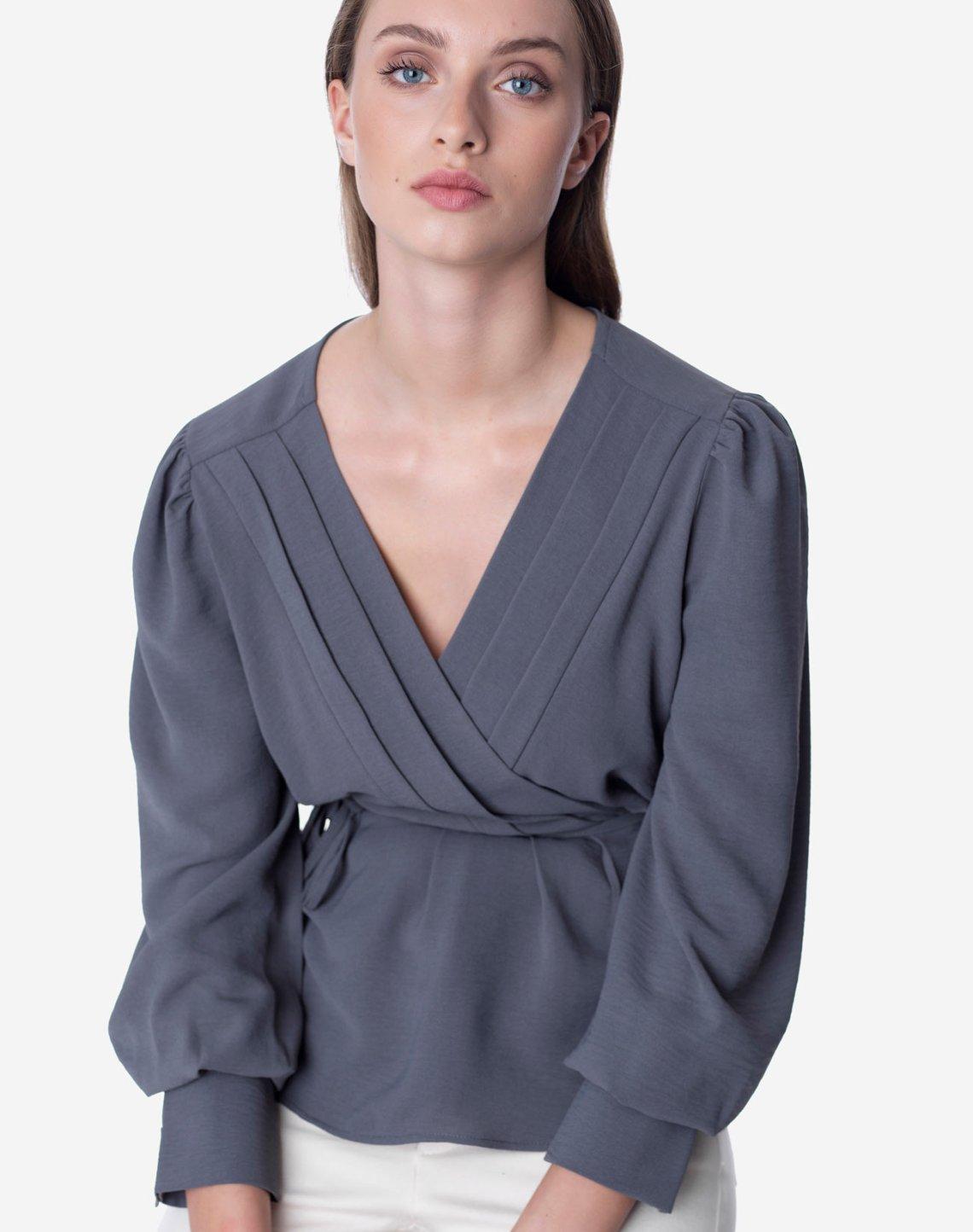 Κρουαζέ μπλούζα με πιέτες