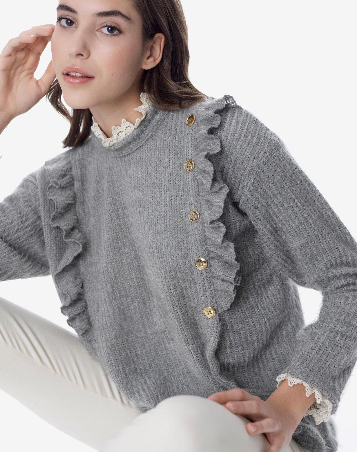 Μπλούζα με κουμπιά και δαντέλα