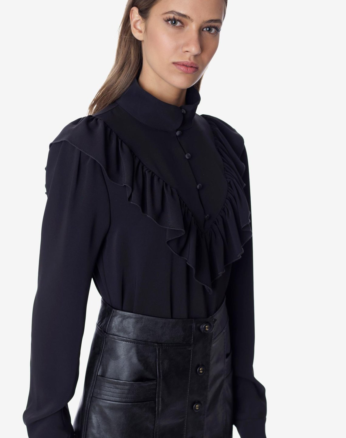 Blouse with high neck