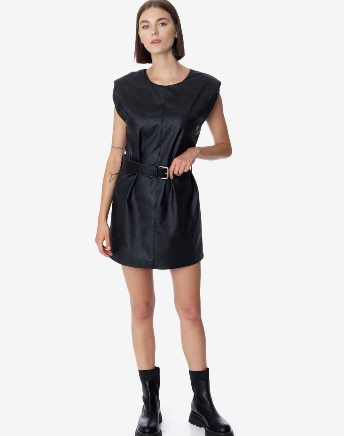 Mini faux leather dress with belt