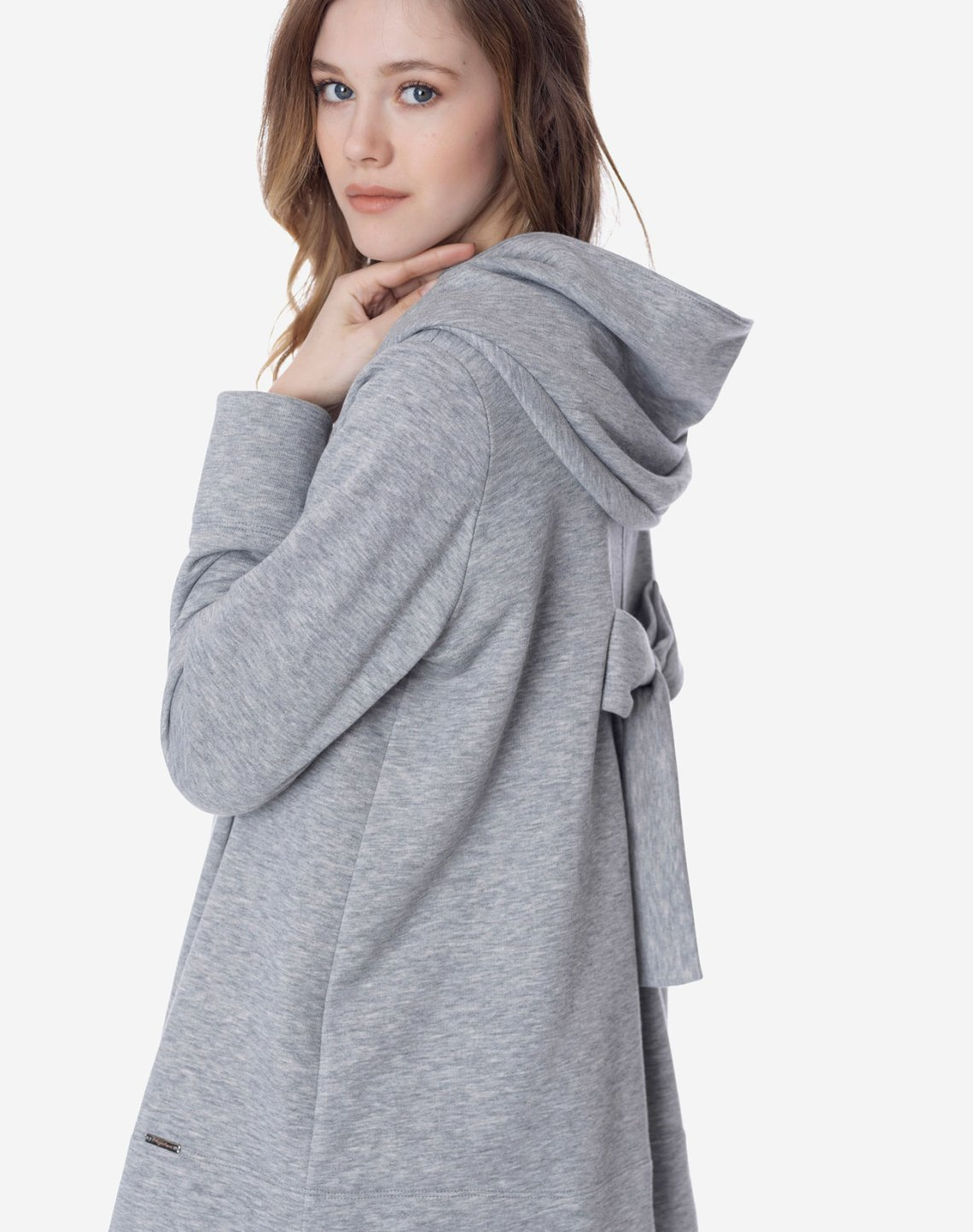 Hooded cardigan with bow