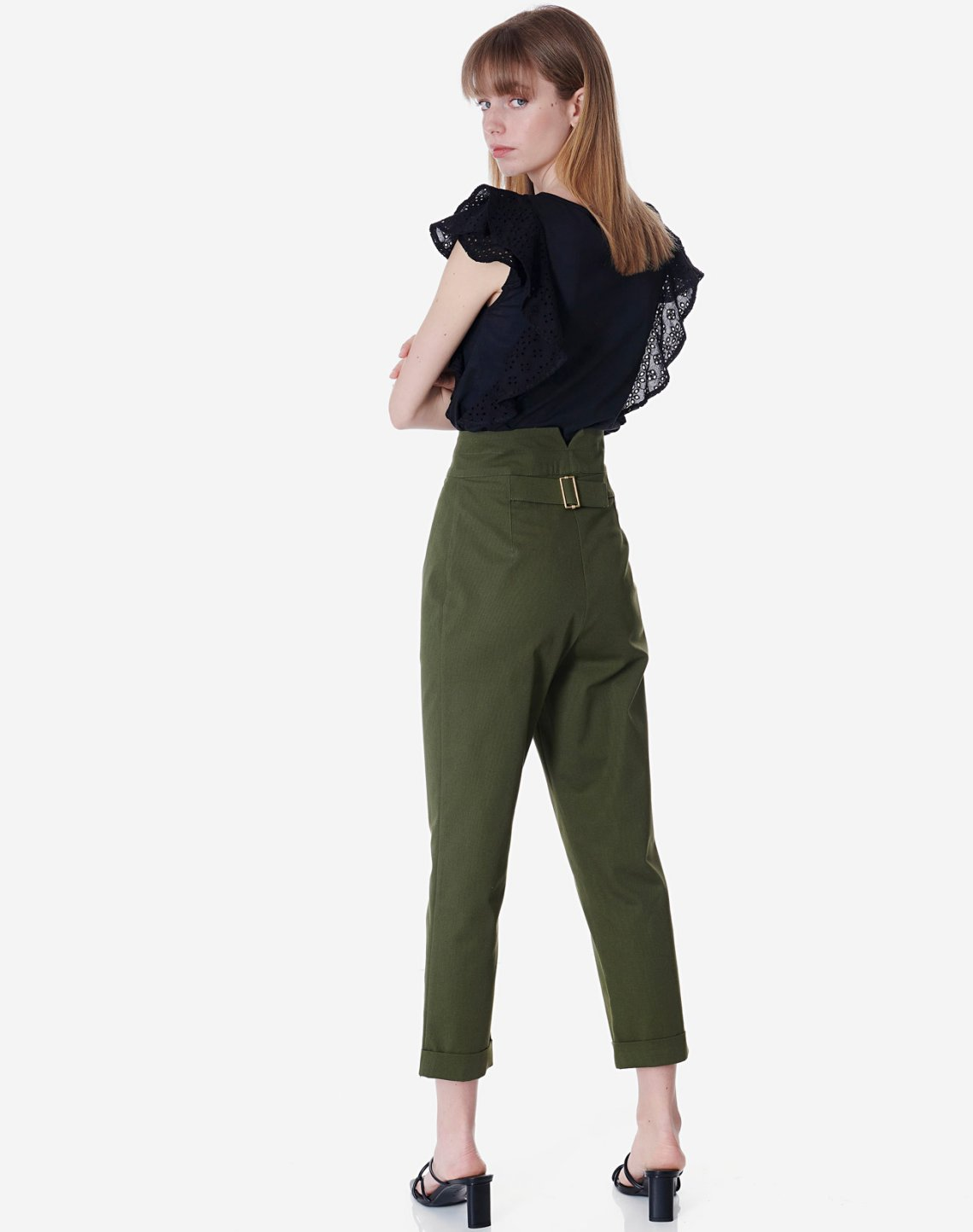 High waist trousers with encrusted belt