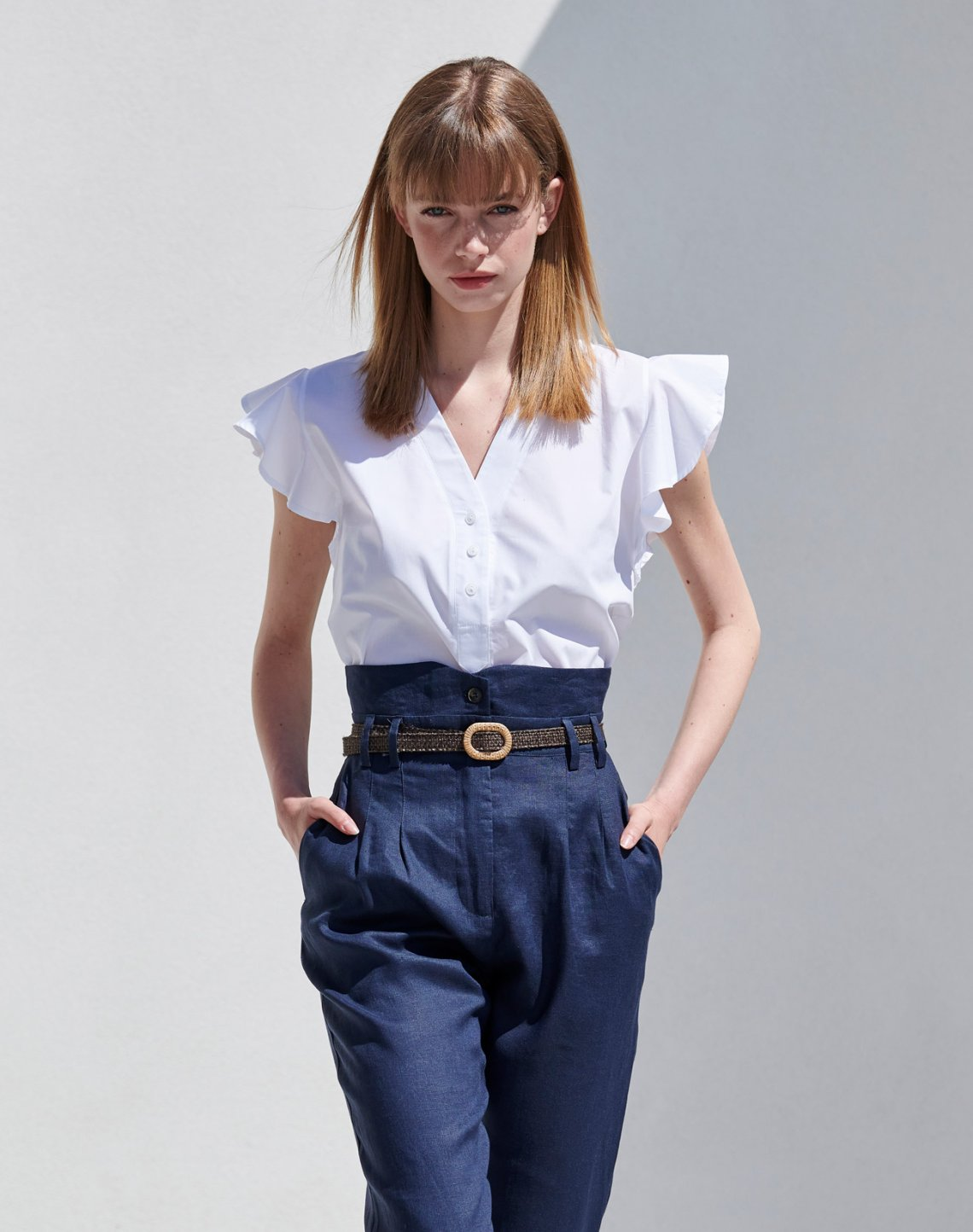 Linen trousers with pleating detail