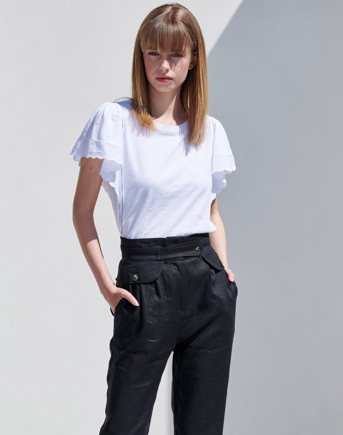 Linen high waist trousers