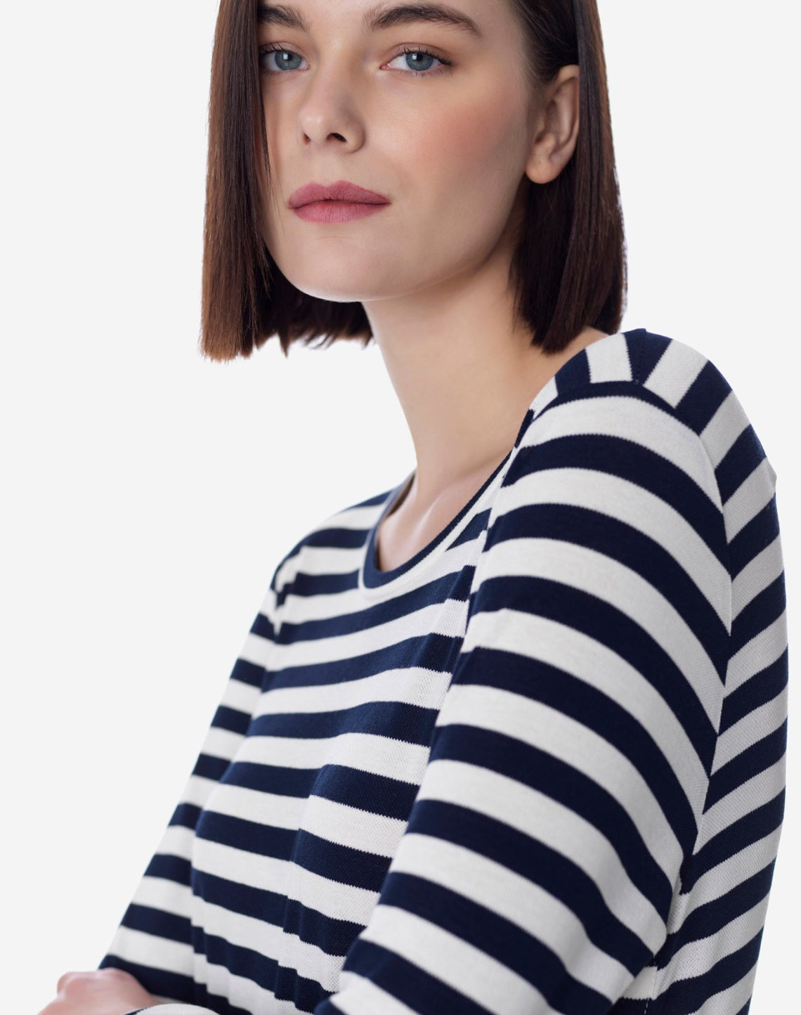 Striped top with ruffle hem