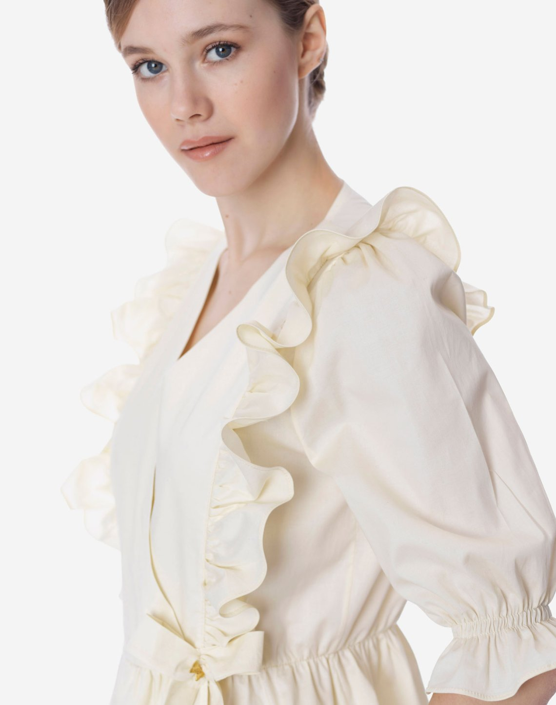Wrap top with ruffles