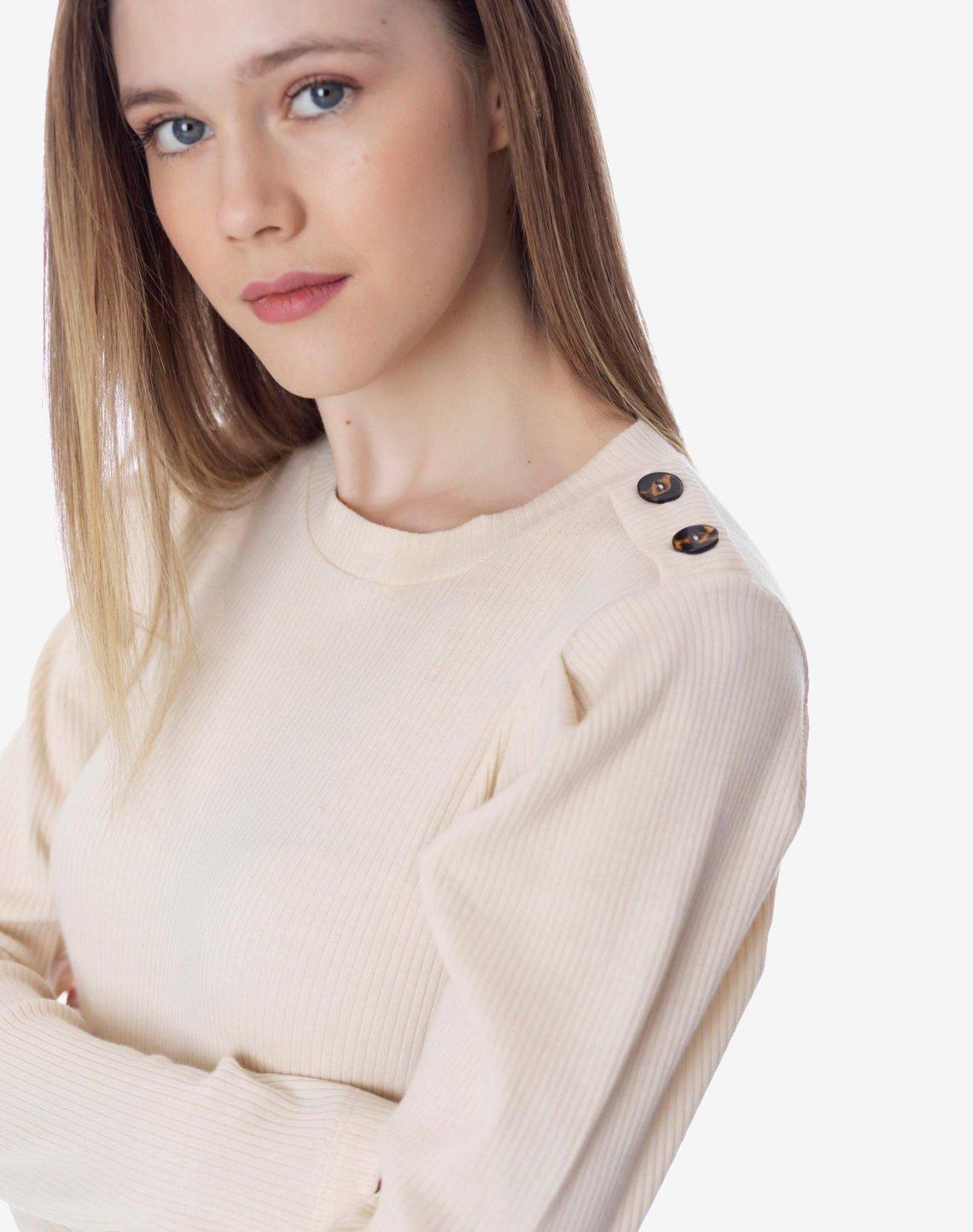 Μπλούζα peplum με κουμπιά