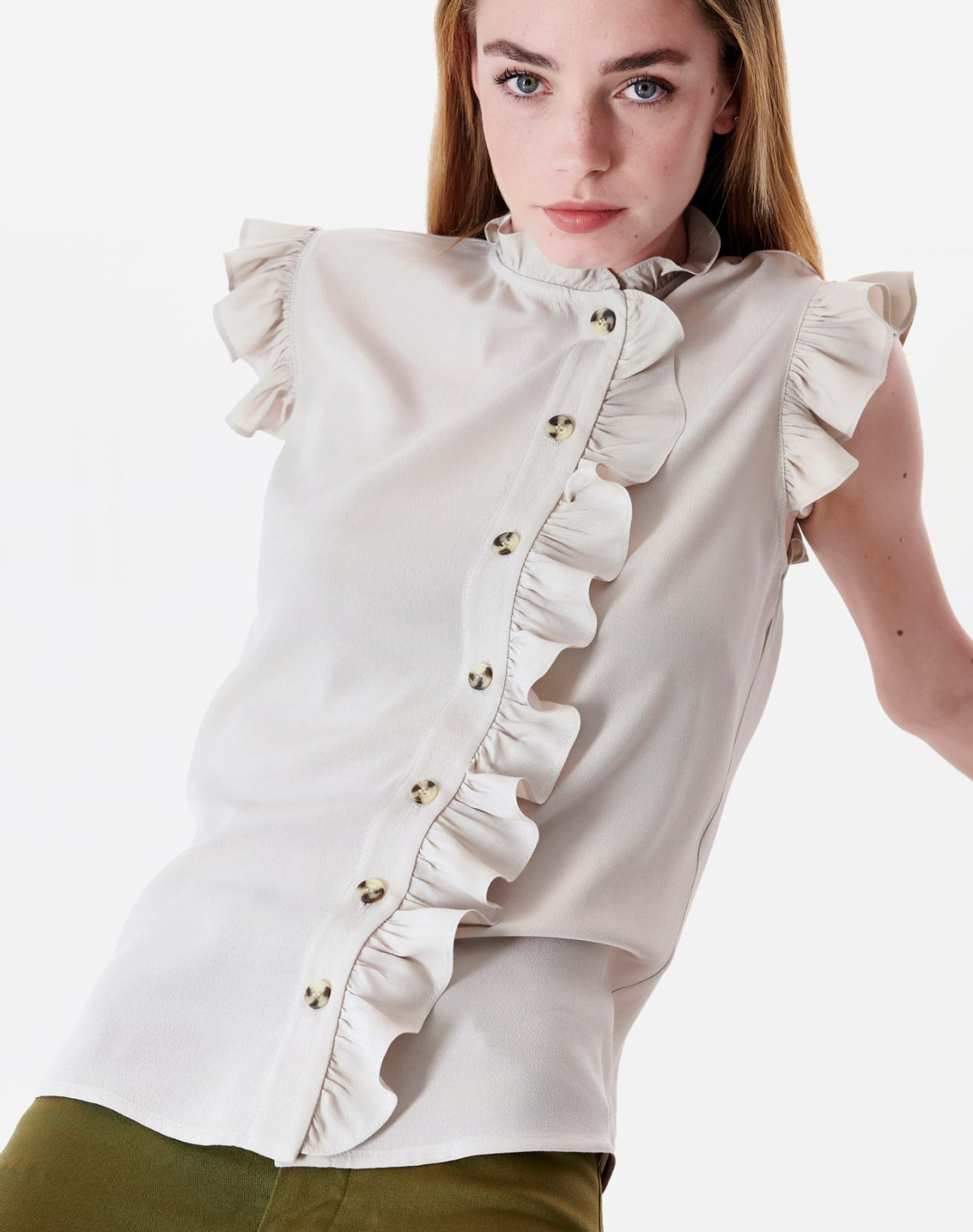 Top with ruffles ecovero viscose