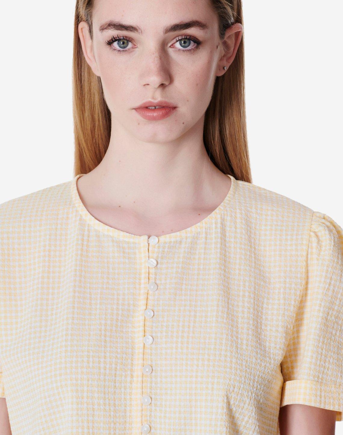 Καρό μπλούζα peplum