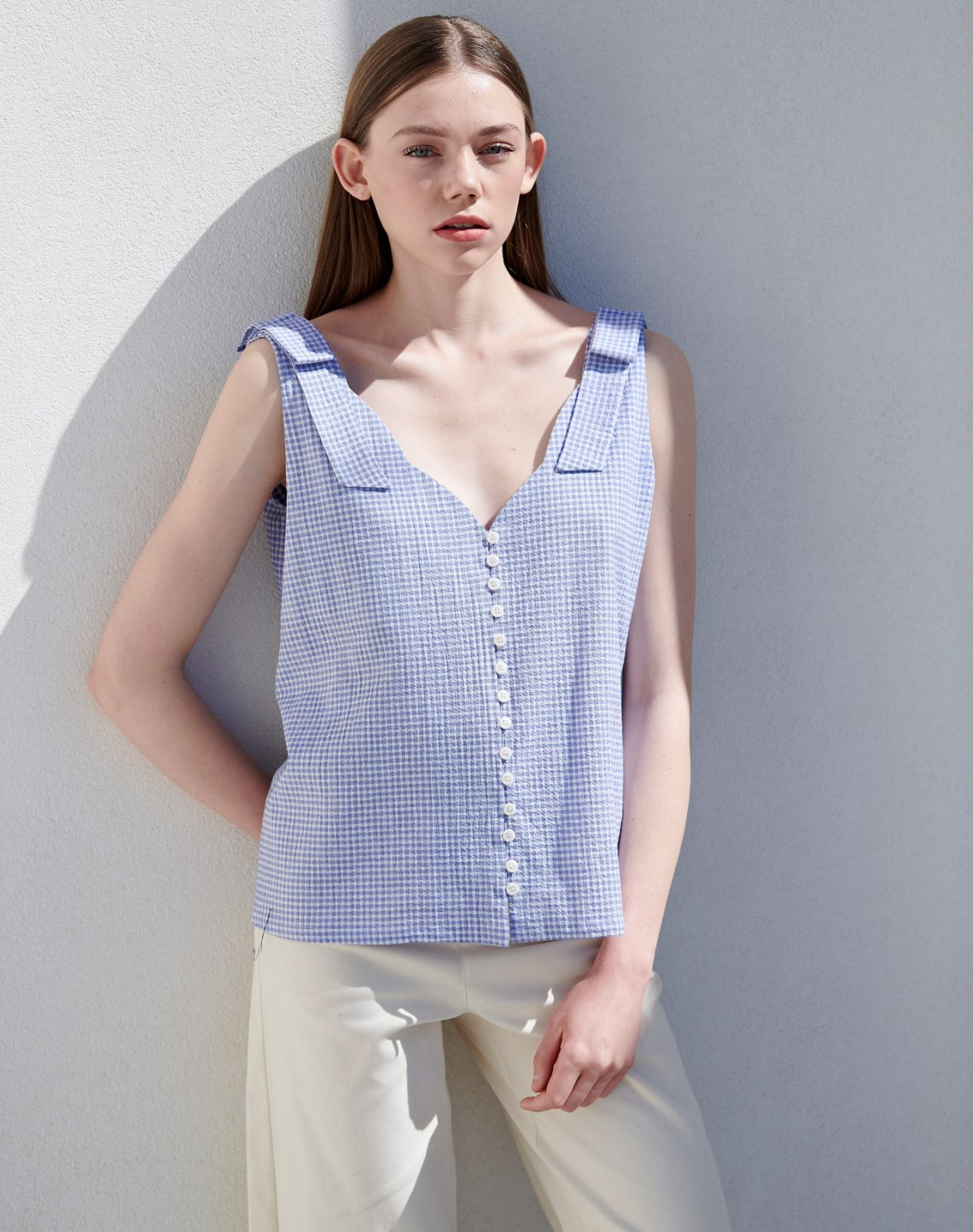 Gingham check top