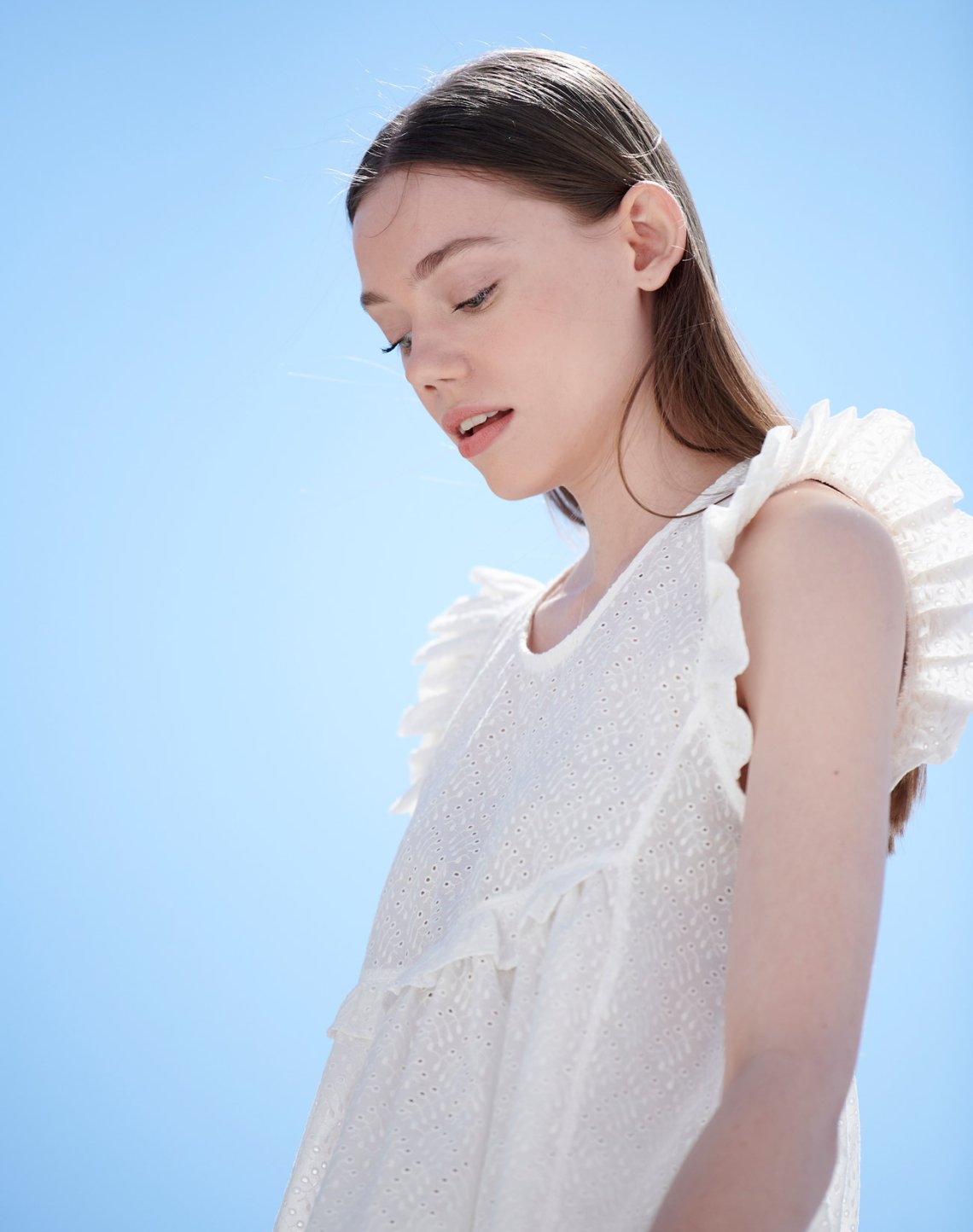 Broderie top with ruffles