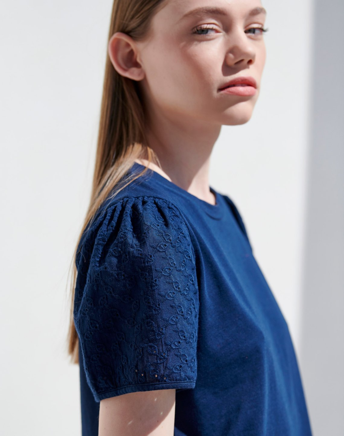 T-shirt with embroidered sleeves