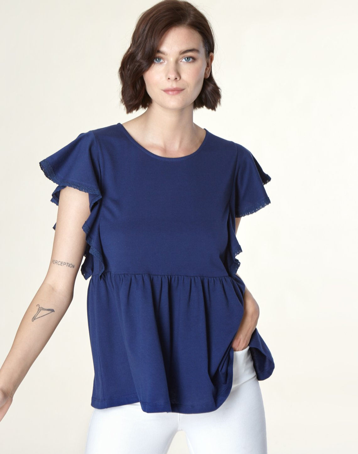 Peplum top with lace detail